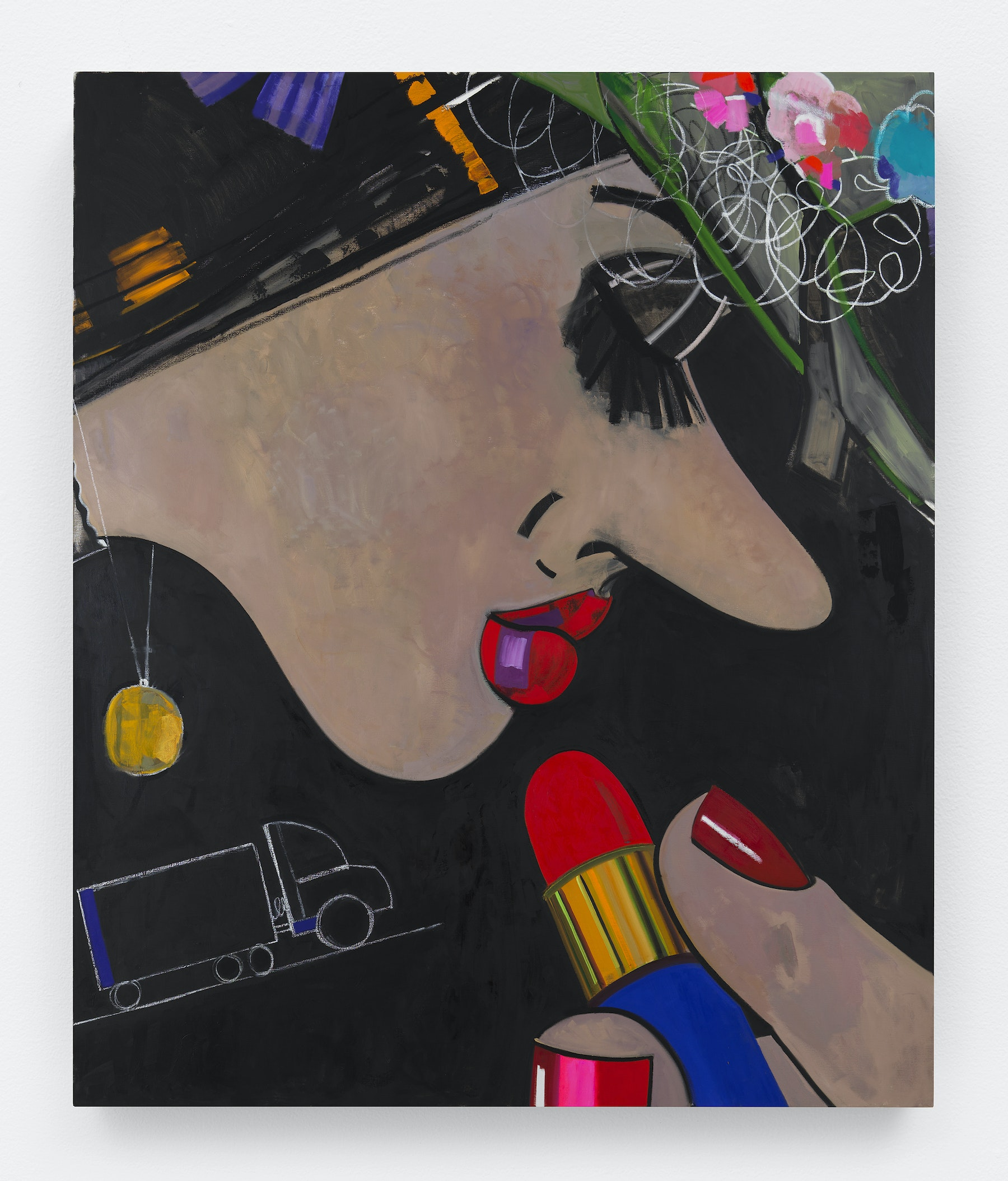 "Ellen Berkenblit ""Wildflower Hat,"" 2018 Oil and paintstick on linen 91 x 76"" [HxW] (231.14 x 193.04 cm) Inventory #BER187 Courtesy of the artist and Vielmetter Los Angeles Photo credit: Object Studies"