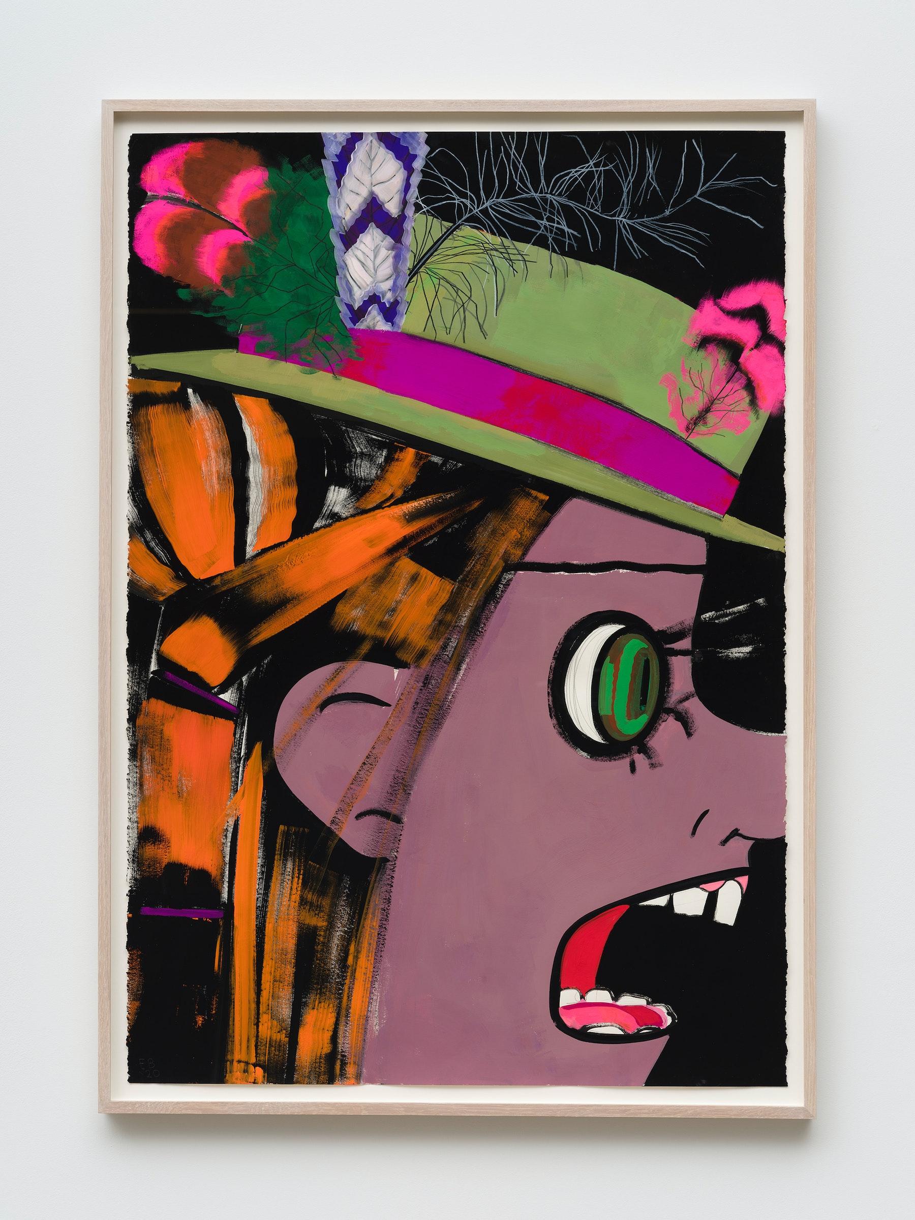 "Ellen Berkenblit ""Green Velvet Hat,"" 2020 Gouache and graphite on Legion Stonehenge paper 44"" x 30"" [HxW] (111.76 x 76.2 cm) Inventory #BER195 Courtesy of the artist and Vielmetter Los Angeles Photo credit: Jeff Mclane Signed ""EB '20"""