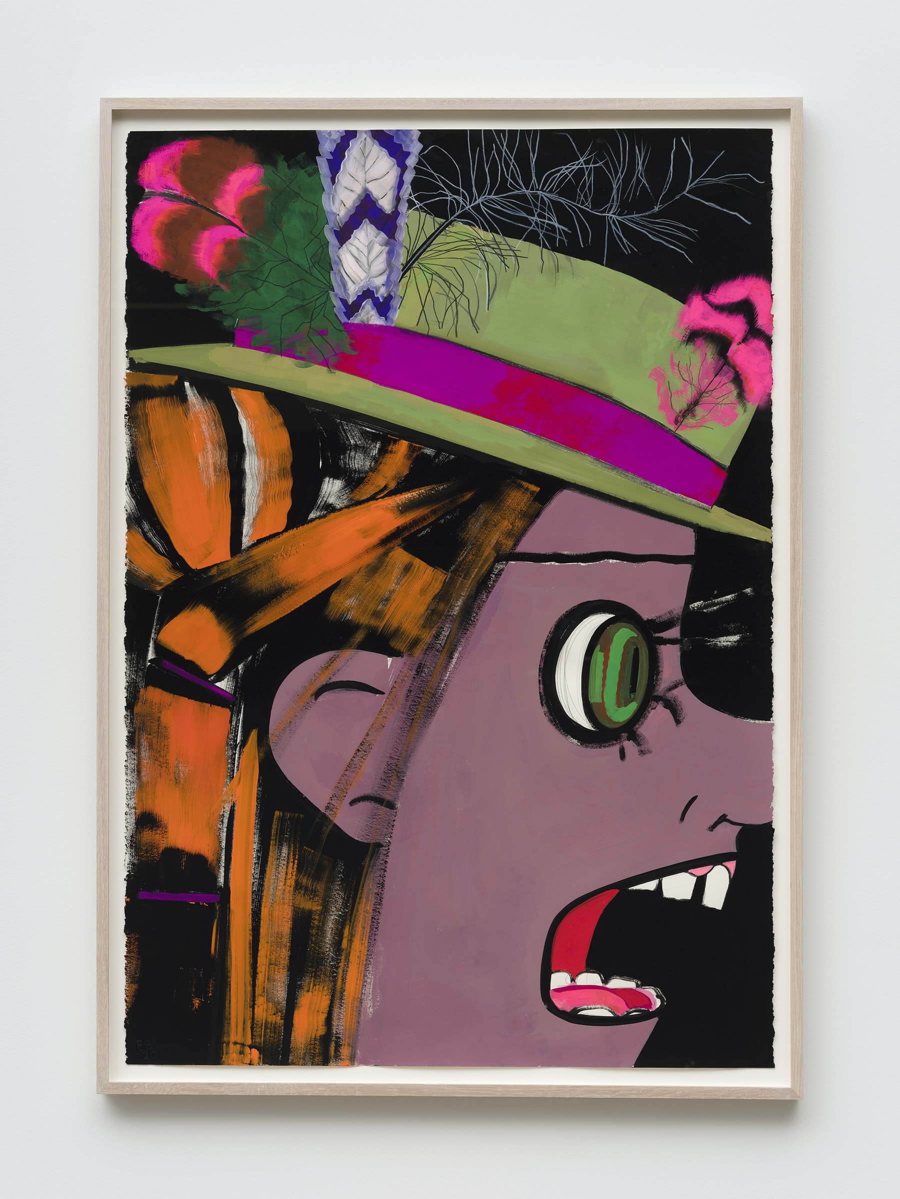 "Ellen Berkenblit ""Green Velvet Hat,"" 2020 Gouache and graphite on Legion Stonehenge paper 44"" x 30"" [HxW] (111.76 x 76.2 cm) Inventory #BER195 Courtesy of the artist and Vielmetter Los Angeles Photo credit: Jeff Mclane Signed ""EB '20"""