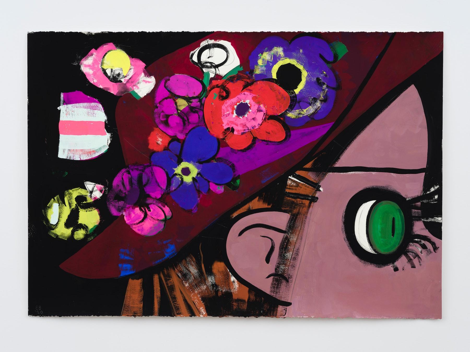 "Ellen Berkenblit ""Jello and Petit Fours,"" 2020 Gouache and graphite on Legion Stonehenge paper 30"" x 44"" [HxW] (76.2 x 111.76 cm); 33"" x 46 ¹⁄₂"" x 1 ¹⁄₂"" [HxWxD] (83.82 x 118.11 x 3.81 cm) framed Inventory #BER197 Courtesy of the artist and Vielmetter Los Angeles Photo credit: Jeff Mclane Signed ""EB '20"" Collection of Philipe Leonardo; Denver, CO, USA"