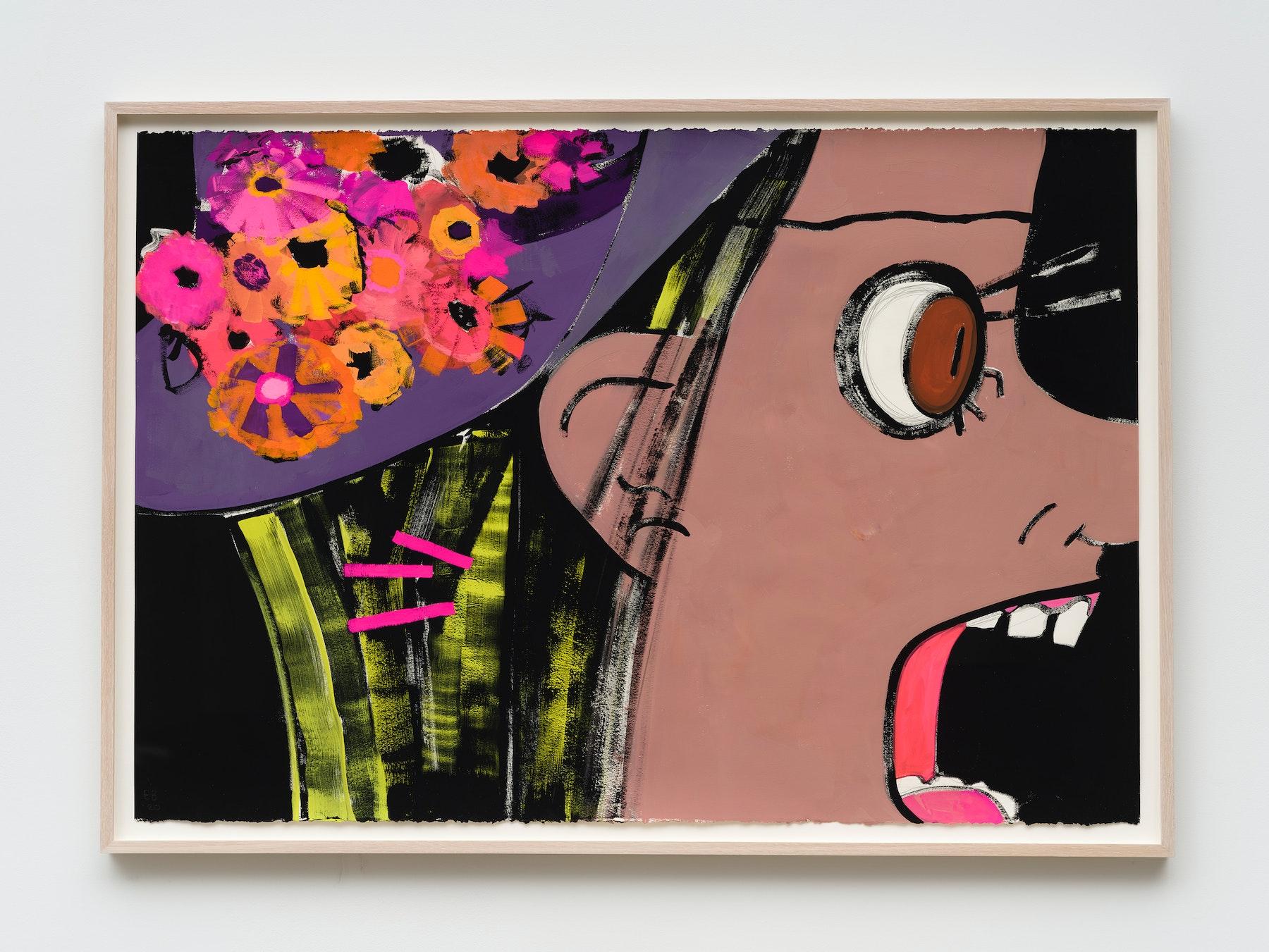 "Ellen Berkenblit ""Orange Juice,"" 2020 Gouache and graphite on Legion Stonehenge paper 30"" x 44"" [HxW] (76.2 x 111.76 cm) Inventory #BER206 Courtesy of the artist and Vielmetter Los Angeles Photo credit: Jeff Mclane Signed ""EB '20"""