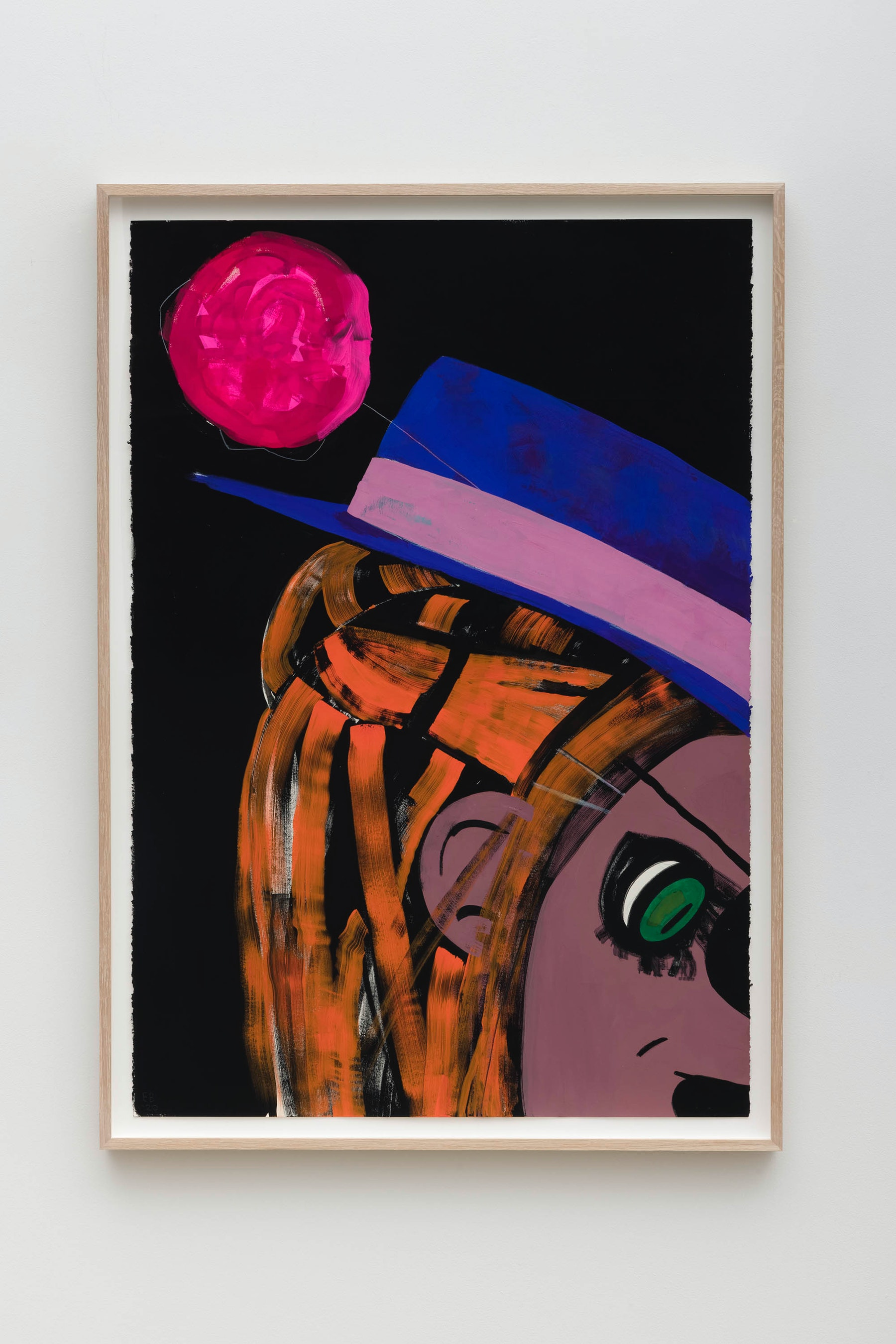 "Ellen Berkenblit ""The Red Balloon,"" 2020 Gouache and graphite on Legion Stonehenge paper 47"" x 33 ¹⁄₄"" x 2"" [HxWxD] (119.38 x 84.45 x 5.08 cm), framed Inventory #BER208 Courtesy of the artist and Vielmetter Los Angeles Photo credit: Jeff McLane"