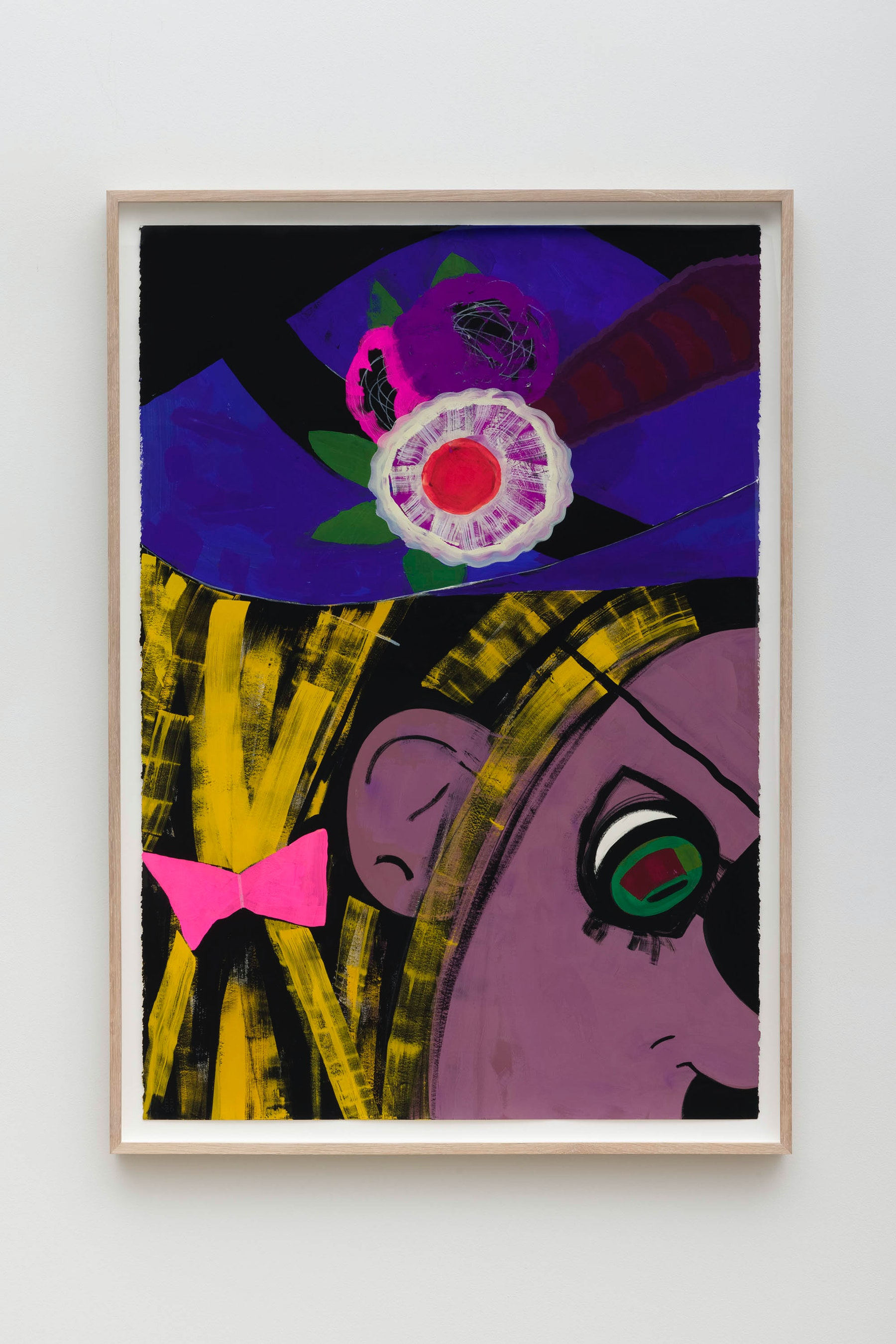 "Ellen Berkenblit ""Pink Moth,"" 2020 Gouache and graphite on Legion Stonehenge paper 47"" x 33 ¹⁄₄"" x 2"" [HxWxD] (119.38 x 84.45 x 5.08 cm), framed Inventory #BER209 Courtesy of the artist and Vielmetter Los Angeles Photo credit: Jeff McLane"