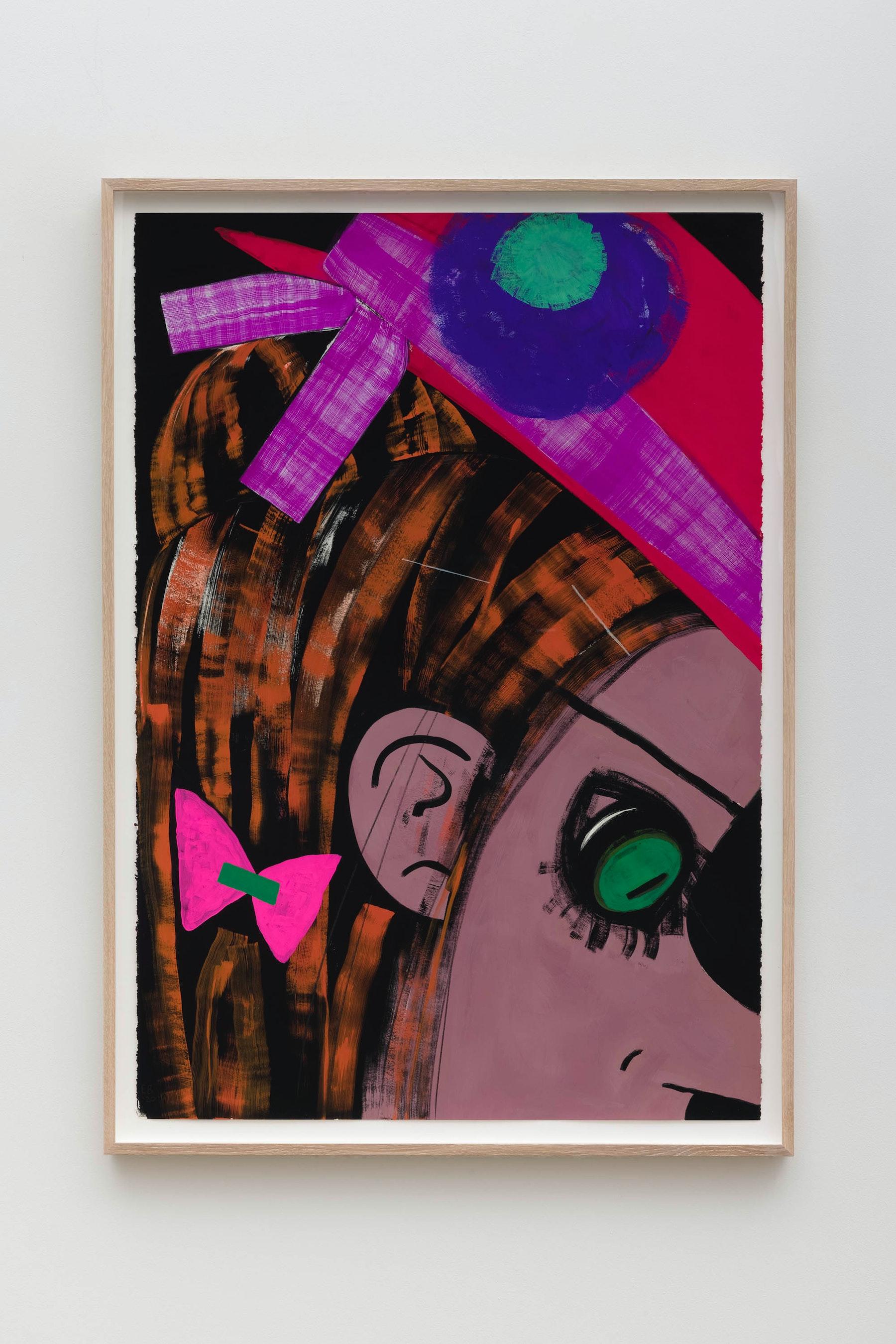 "Ellen Berkenblit ""Green and Pink Plastic Moth,"" 2020 Gouache and graphite on Legion Stonehenge paper 47"" x 33 ¹⁄₄"" x 2"" [HxWxD] (119.38 x 84.45 x 5.08 cm), framed Inventory #BER210 Courtesy of the artist and Vielmetter Los Angeles Photo credit: Jeff McLane"