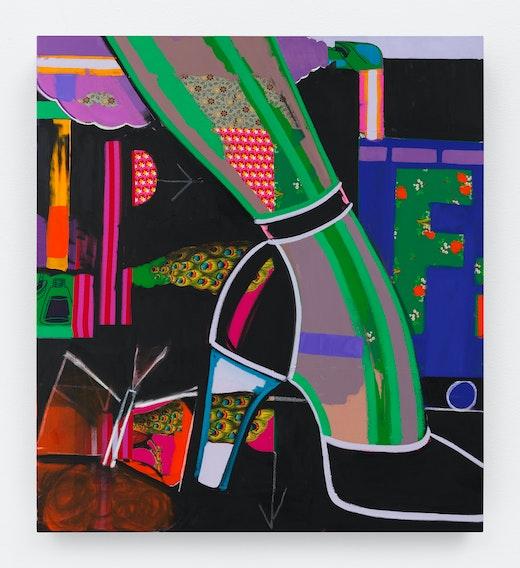 This is an artwork titled Peacock City by artist Ellen Berkenblit made in 2018