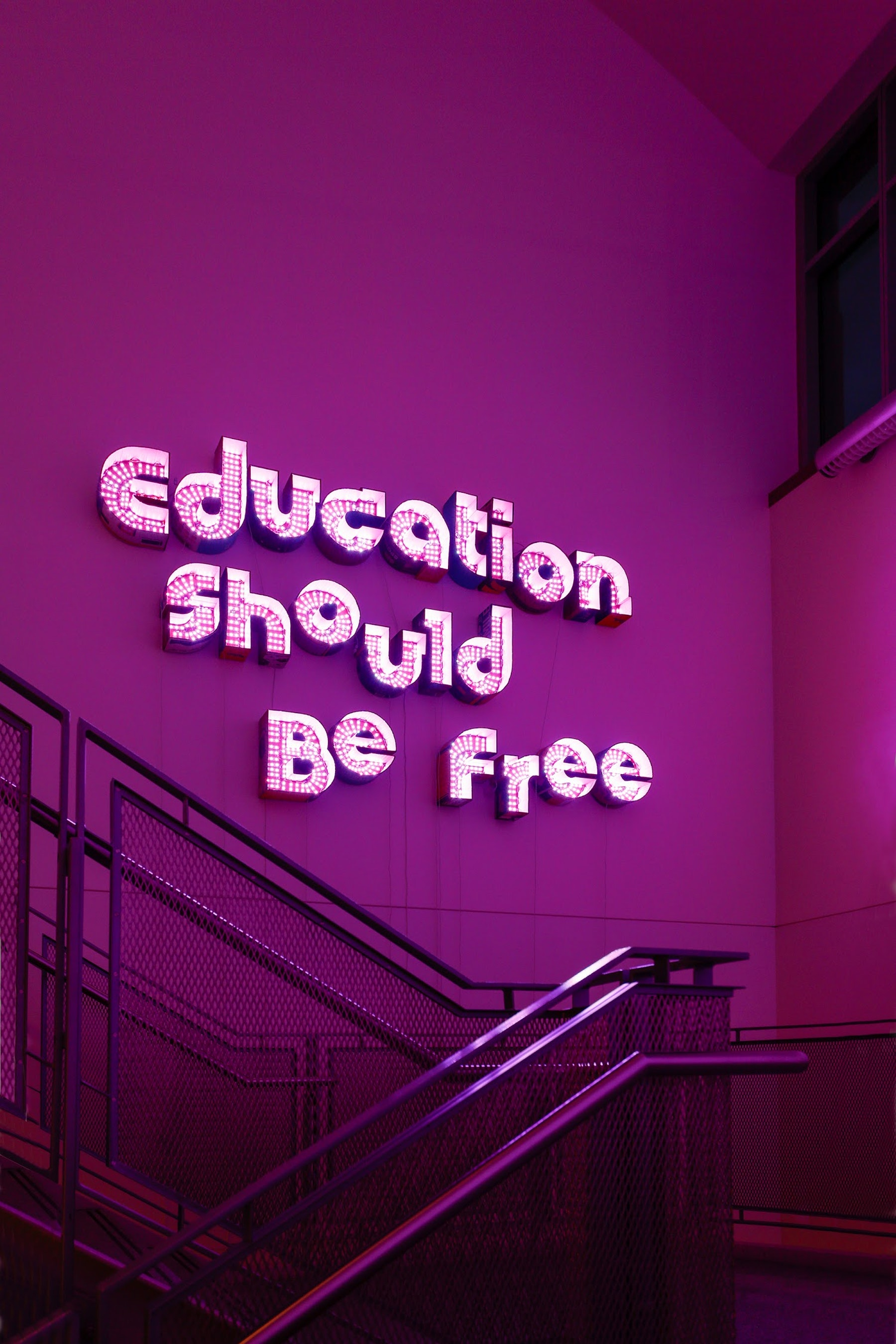 """Andrea Bowers """"Education Should be Free,"""" 2016 Cardboard and color changing LED lights 65.7 x 107"""" [HxW] (166.88 x 271.78 cm) Inventory #BOW454 Courtesy of the artist and Vielmetter Los Angeles Photo credit: Mark Woods"""