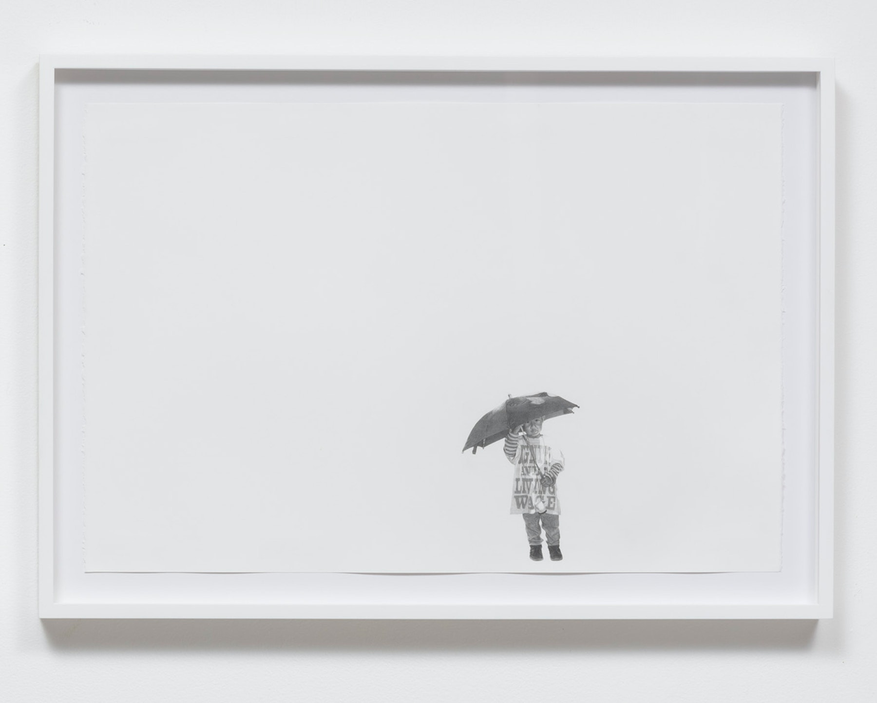 """Andrea Bowers """"Fight for $15 March (December 4, 2014),"""" 2015 Graphite on paper 15.00"""" H x 22.00"""" W (38.10cm H x 55.88cm W) framed Inventory #BOW466 Courtesy of the Artist and Vielmetter Los Angeles Photo credit: Robert Wedemeyer"""