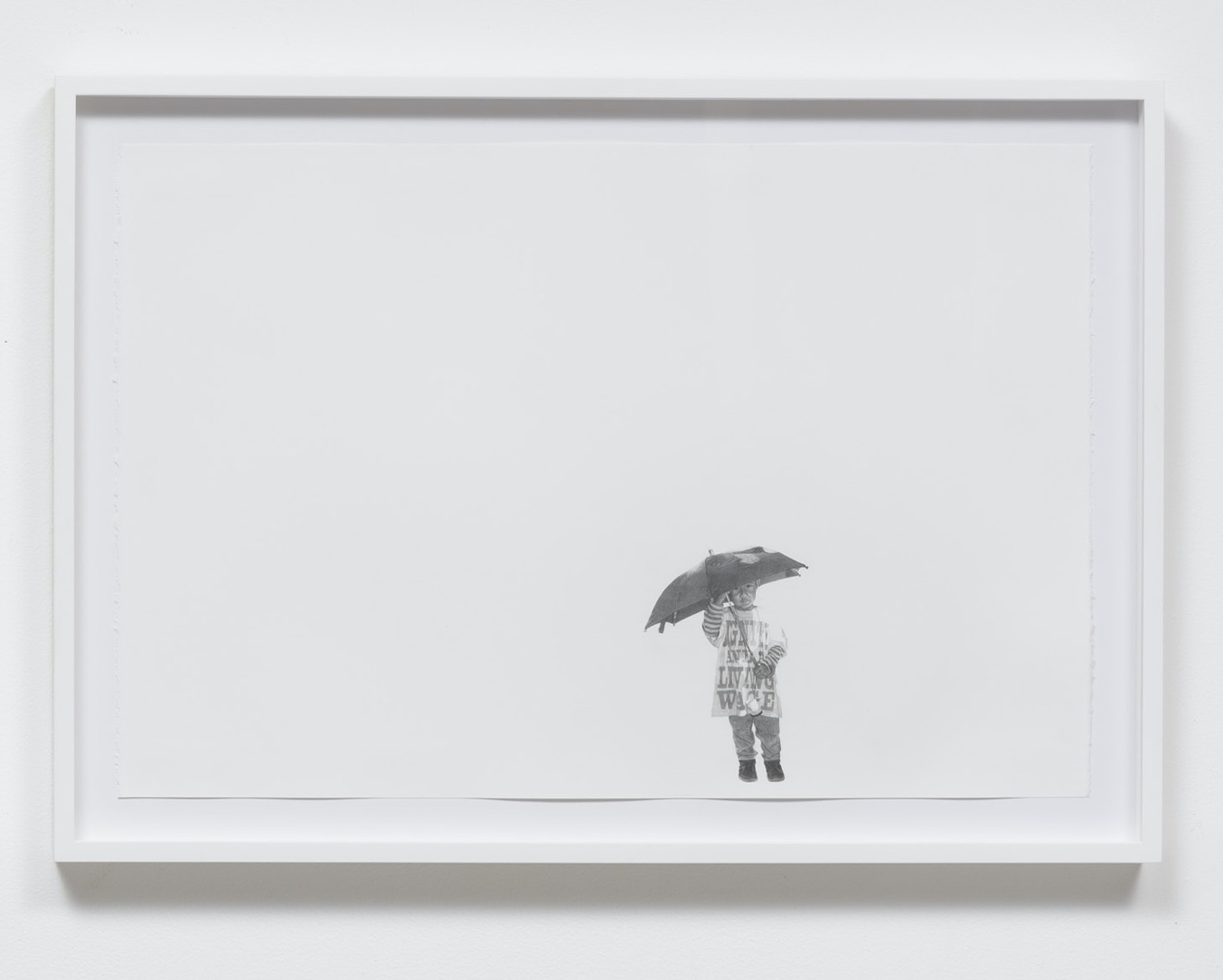 "Andrea Bowers ""Fight for $15 March (December 4, 2014),"" 2015 Graphite on paper 15.00"" H x 22.00"" W (38.10cm H x 55.88cm W) framed Inventory #BOW466 Courtesy of the Artist and Vielmetter Los Angeles Photo credit: Robert Wedemeyer"
