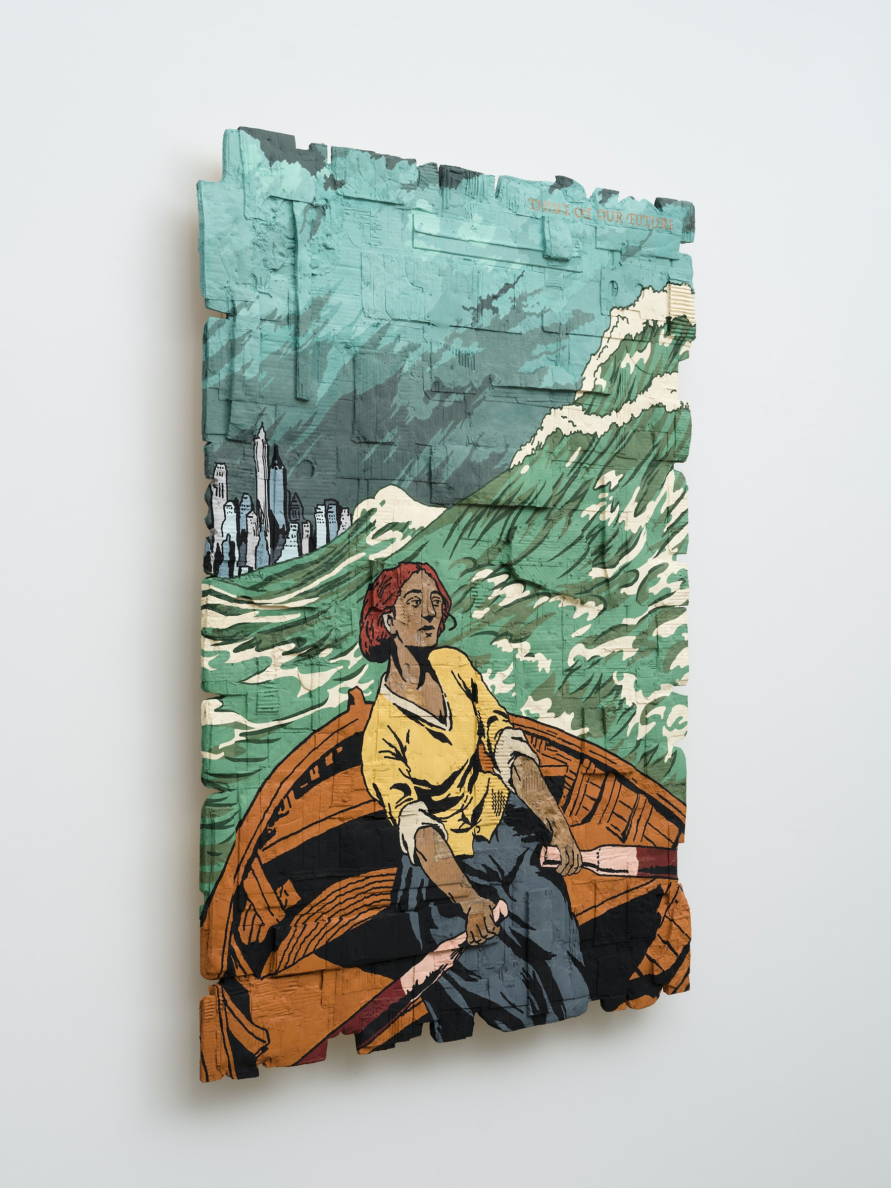 """Andrea Bowers """"Think of Our Future (Original Illustration, by Duncan Grant, Poster Published by the Artists' Suffrage League, Hentschel Ltd., 1909),"""" 2021 Acrylic marker on cardboard 72"""" x 52 ¹⁄₂"""" x 4 ¹⁄₂"""" [HxWxD] (182.88 x 133.35 x 11.43 cm) Inventory #BOW539 Courtesy of the artist and Vielmetter Los Angeles Photo credit: Jeff McLane"""