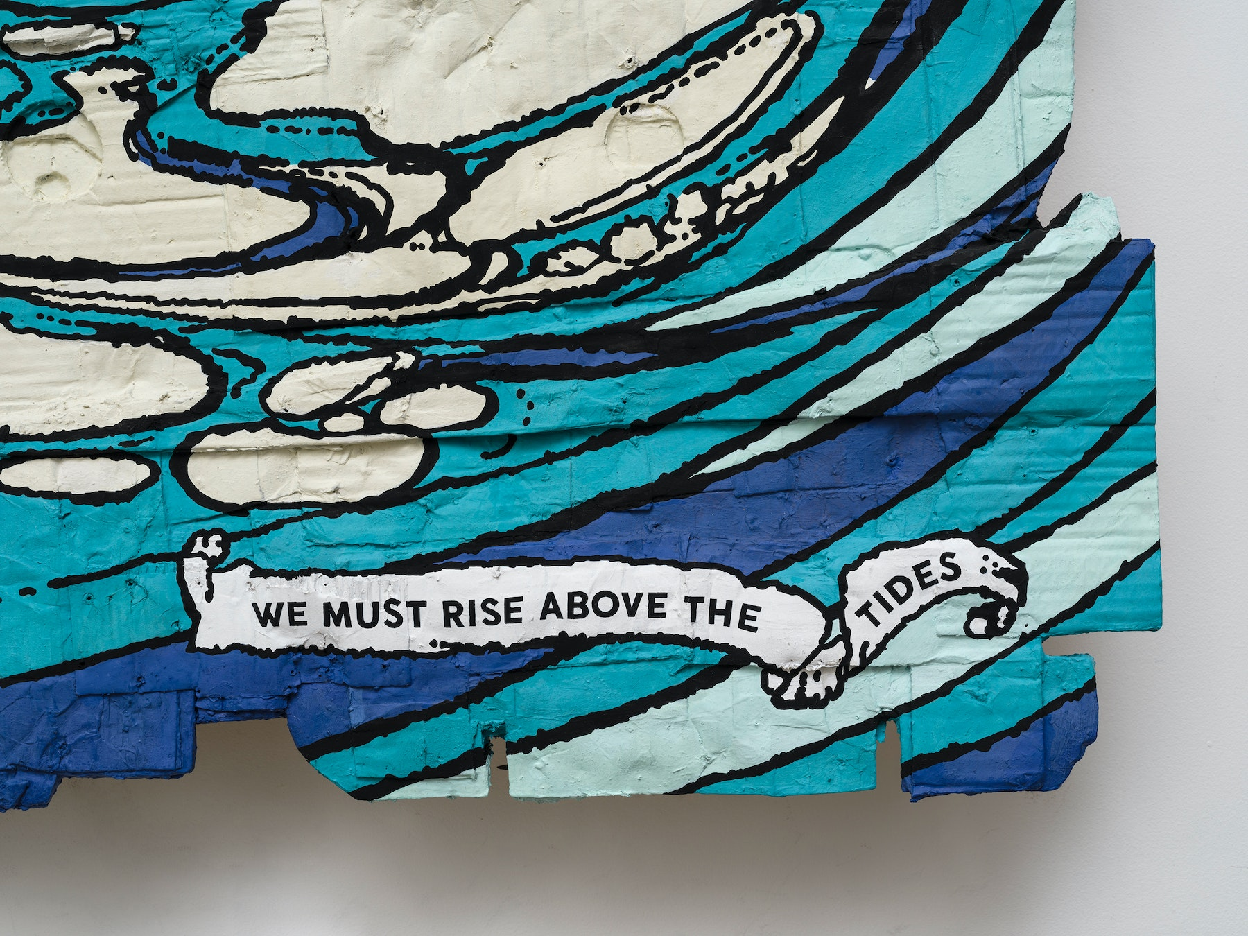 """Andrea Bowers """"We Must Rise Above the Tides, Protest Sign Slogan at Youth Climate Strike L.A., November 1, 2019 (Original Illustration by Arthur Rackham from Undine by Friedrich de La Motte Fouqué, Translated to English by William Leonard Courtney, Published by William Heinemann Ltd., London, 1909),"""" 2020 Acrylic marker on cardboard 84"""" x 62 ¹⁄₂"""" x 5"""" [HxWxD] (213.36 x 158.75 x 12.7 cm) Inventory #BOW551 Courtesy of the artist and Vielmetter Los Angeles Photo credit: Jeff Mclane"""