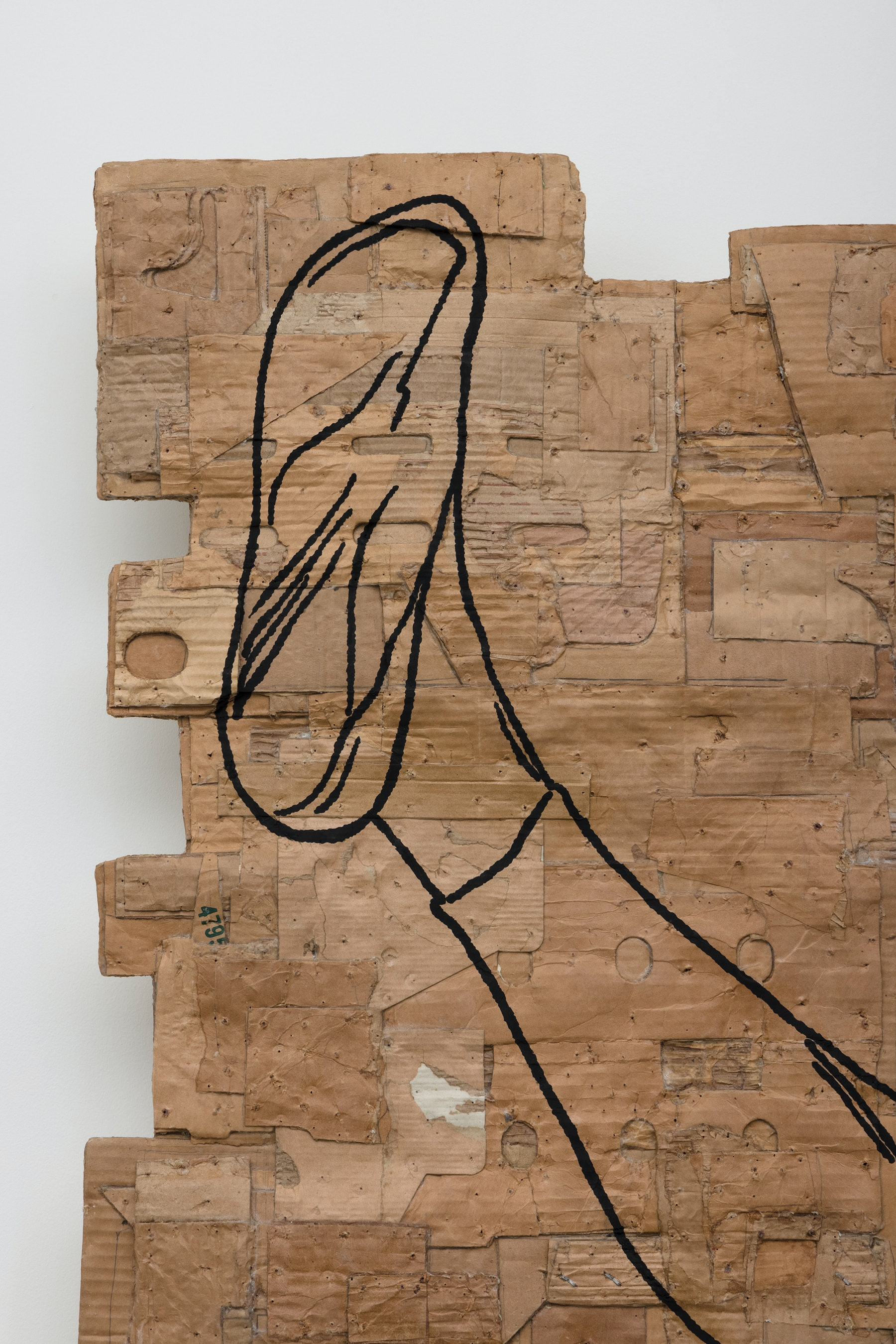 """Andrea Bowers """"Fighting Women, Linda, Mae Geri Kekomi (Thrust Front Kick),"""" 2021 Acrylic and pigment ink on cardboard 96"""" x 60 ¹⁄₂"""" x 5 ¹⁄₂"""" [HxWxD] (243.84 x 153.67 x 13.97 cm) Inventory #BOW574 Courtesy of the artist and Vielmetter Los Angeles Photo credit: Jeff McLane"""