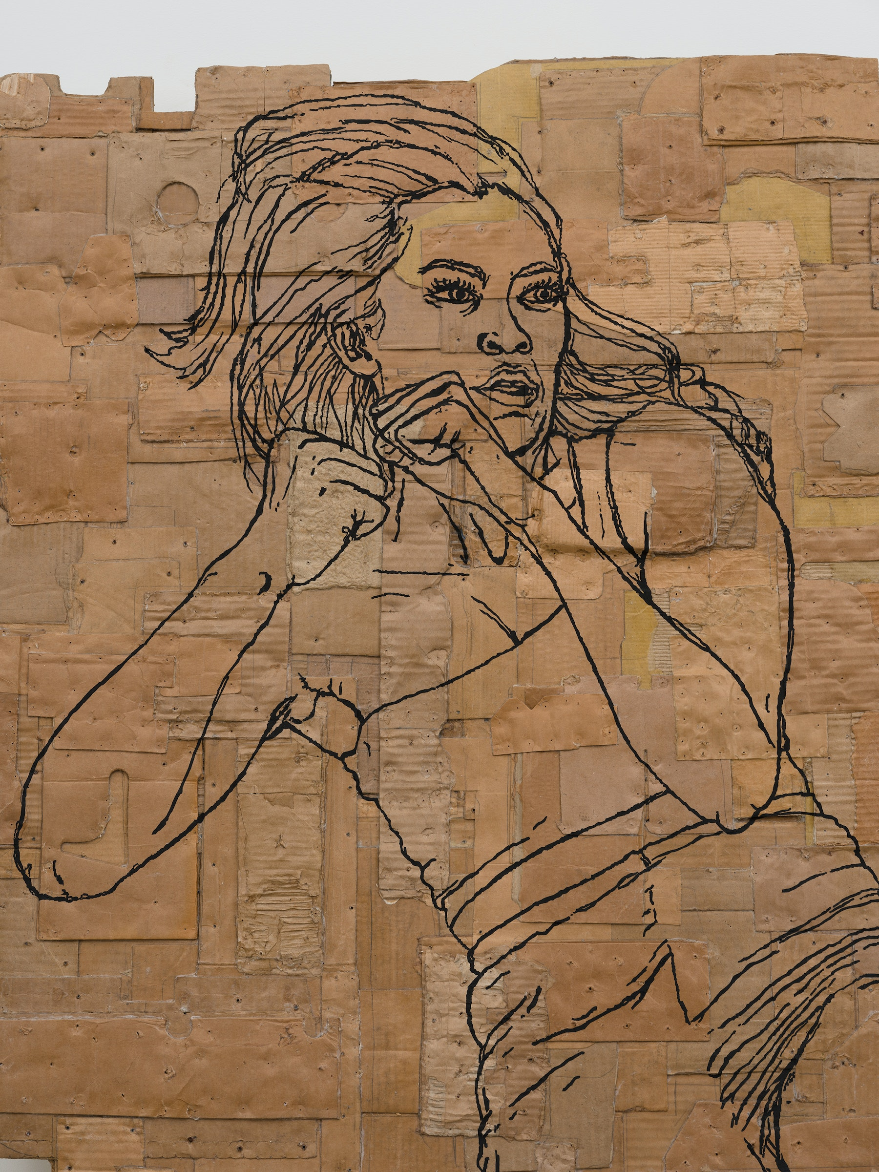 """Andrea Bowers """"Fighting Women, Tiffany, Jump Snap Kick,"""" 2021 Acrylic and pigment ink on cardboard 99"""" x 63 ³⁄₄"""" x 4 ¹⁄₂"""" [HxWxD] (251.46 x 161.92 x 11.43 cm) Inventory #BOW575 Courtesy of the artist and Vielmetter Los Angeles Photo credit: Jeff McLane"""