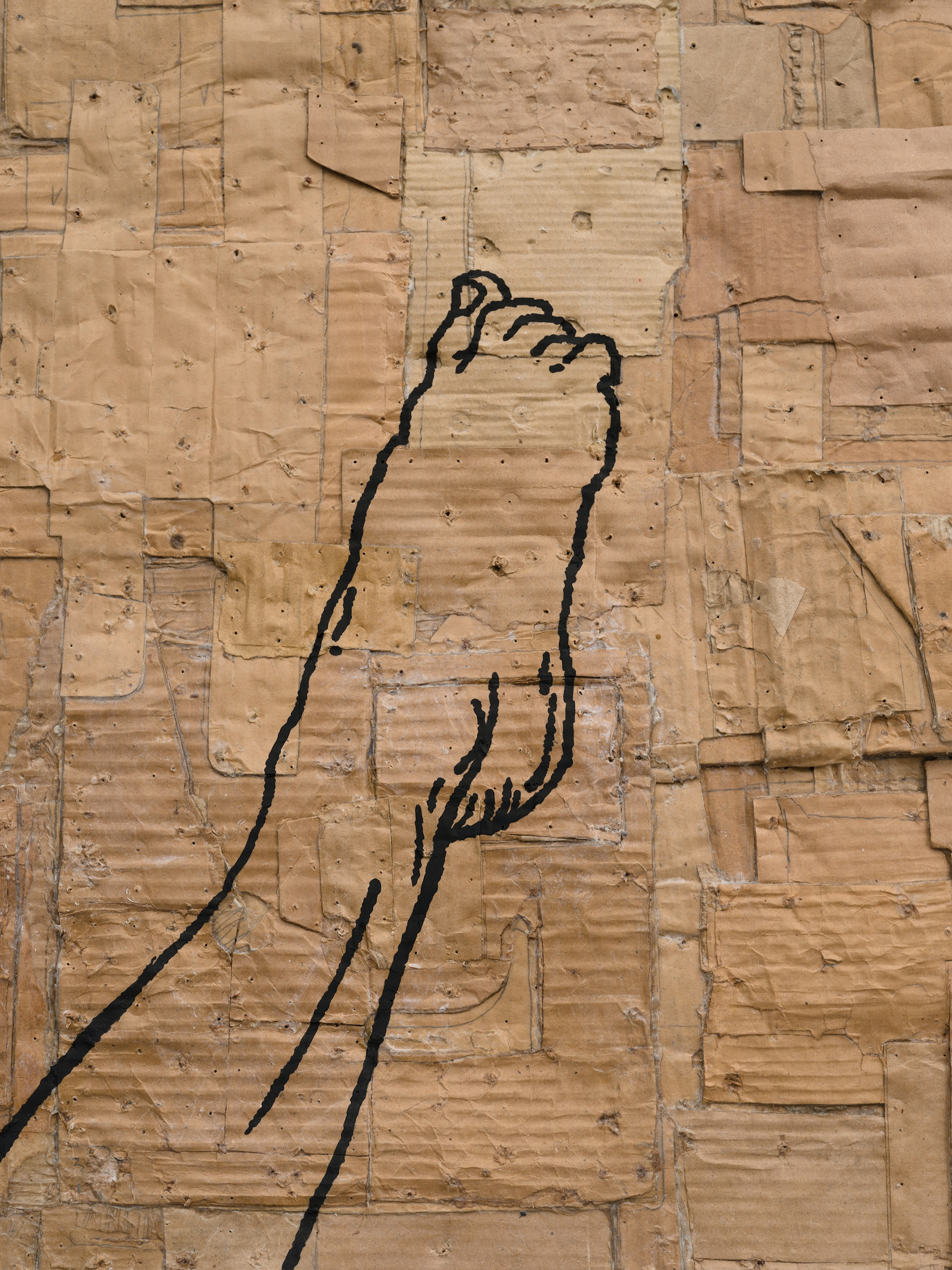 """Andrea Bowers """"Fighting Women, Ivy, Jump Axe Kick,"""" 2021 Acrylic and pigment ink on cardboard 95 ¹⁄₂"""" x 61 ¹⁄₂"""" x 5"""" [HxWxD] (242.57 x 156.21 x 12.7 cm) Inventory #BOW576 Courtesy of the artist and Vielmetter Los Angeles Photo credit: Jeff McLane"""