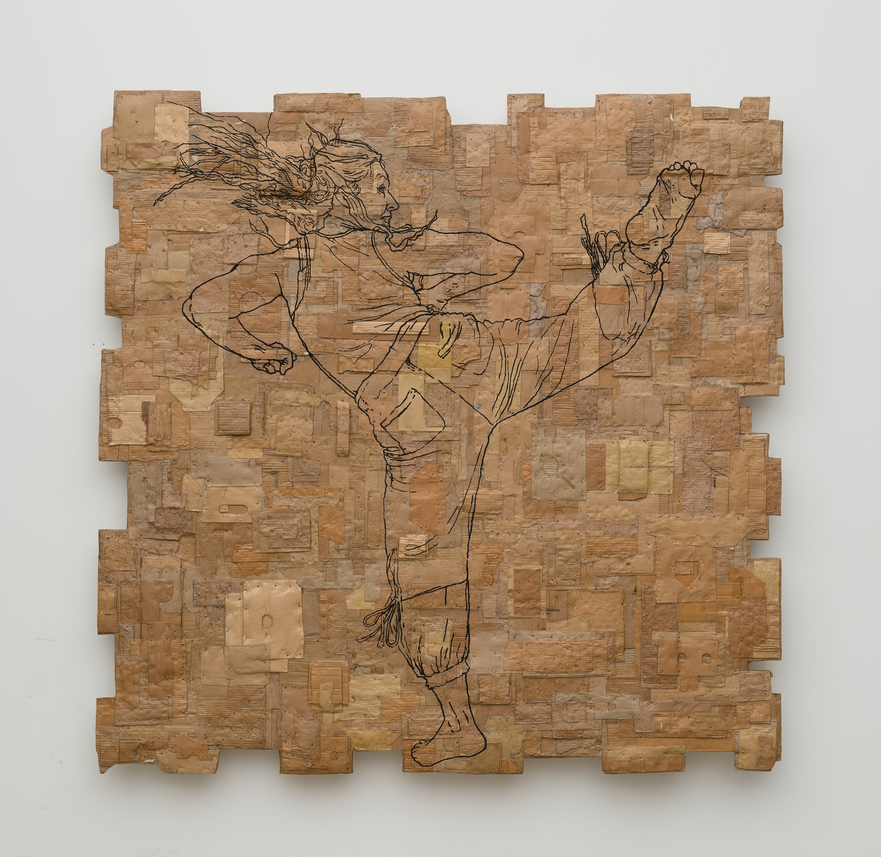 """Andrea Bowers """"Fighting Women, Victoriya, Back Spinning Hook Kick,"""" 2021 Acrylic and pigment ink on cardboard 84"""" x 84"""" x 4"""" [HxWxD] (213.36 x 213.36 x 10.16 cm) Inventory #BOW577 Courtesy of the artist and Vielmetter Los Angeles Photo credit: Jeff McLane"""