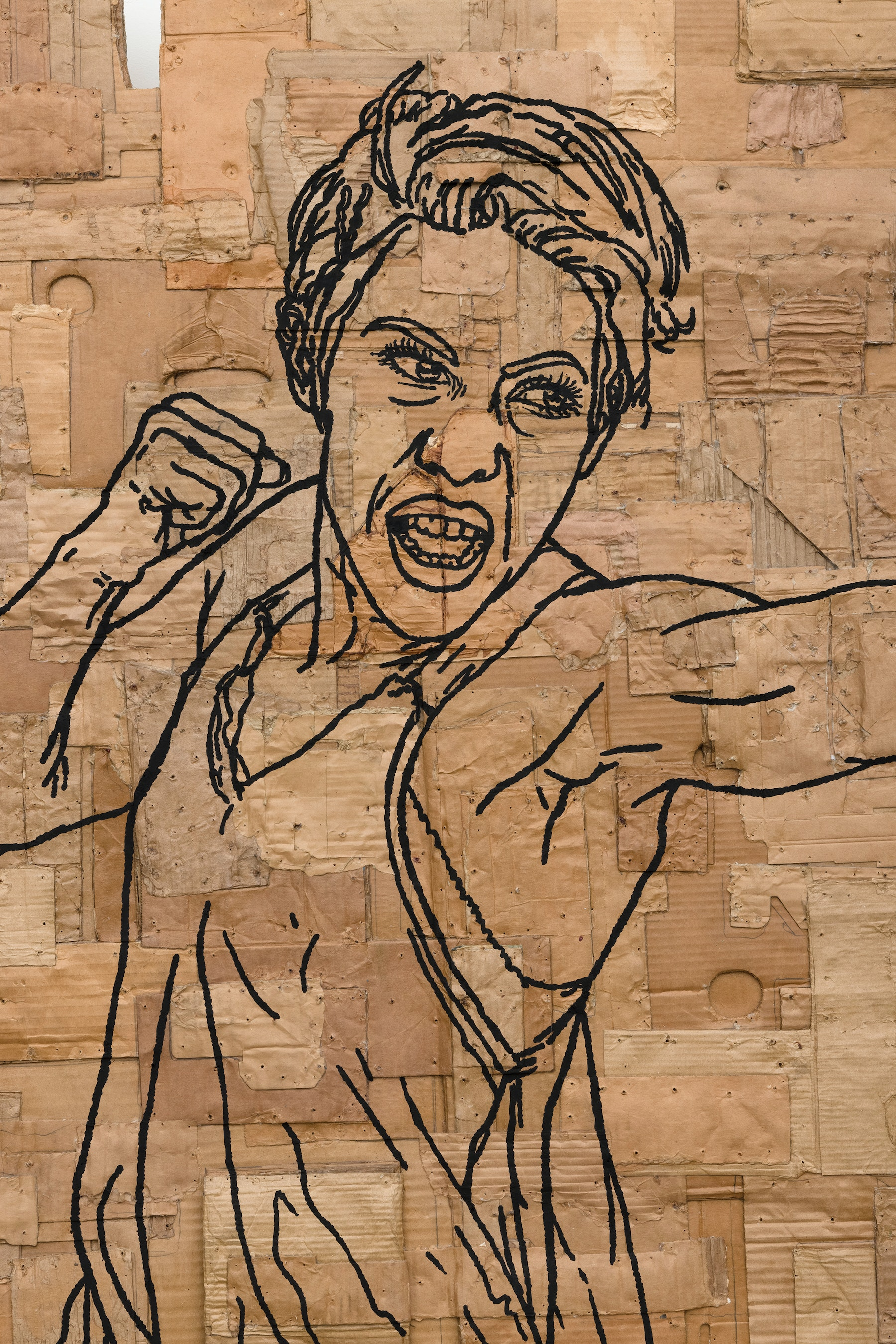 """Andrea Bowers """"Fighting Women, Sunny, Jab,"""" 2021 Acrylic and pigment ink on cardboard 95 ¹⁄₂"""" x 60"""" x 4 ¹⁄₂"""" [HxWxD] (242.57 x 152.4 x 11.43 cm) Inventory #BOW578 Courtesy of the artist and Vielmetter Los Angeles Photo credit: Jeff McLane"""