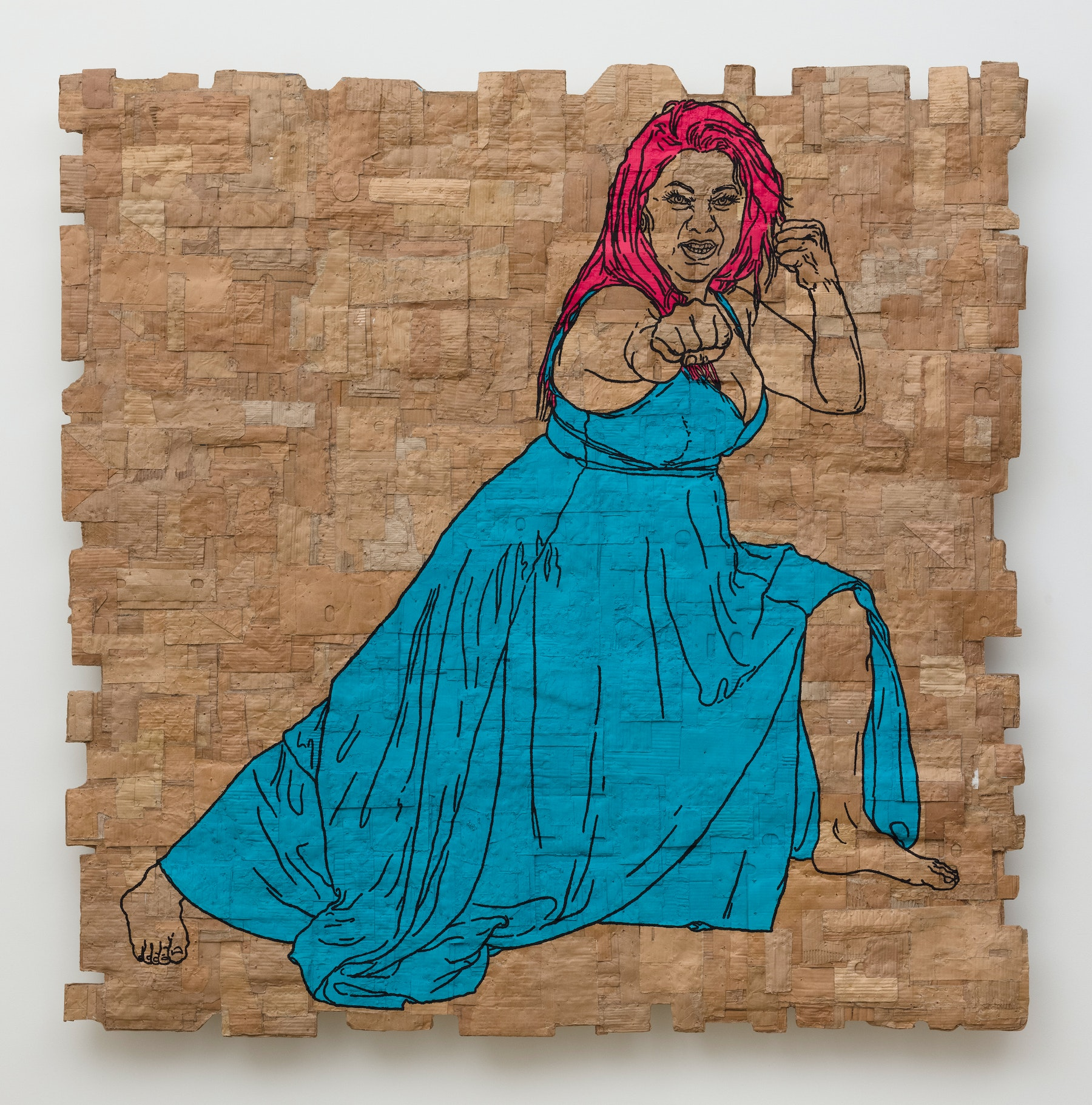 """Andrea Bowers """"Fighting Women, Maritza, Side Punch from an Arrow Stance,"""" 2021 Acrylic and pigment ink on cardboard 84 ¹⁄₂"""" x 84 ¹⁄₂"""" x 5 ¹⁄₂"""" [HxWxD] (214.63 x 214.63 x 13.97 cm) Inventory #BOW579 Courtesy of the artist and Vielmetter Los Angeles Photo credit: Jeff McLane"""