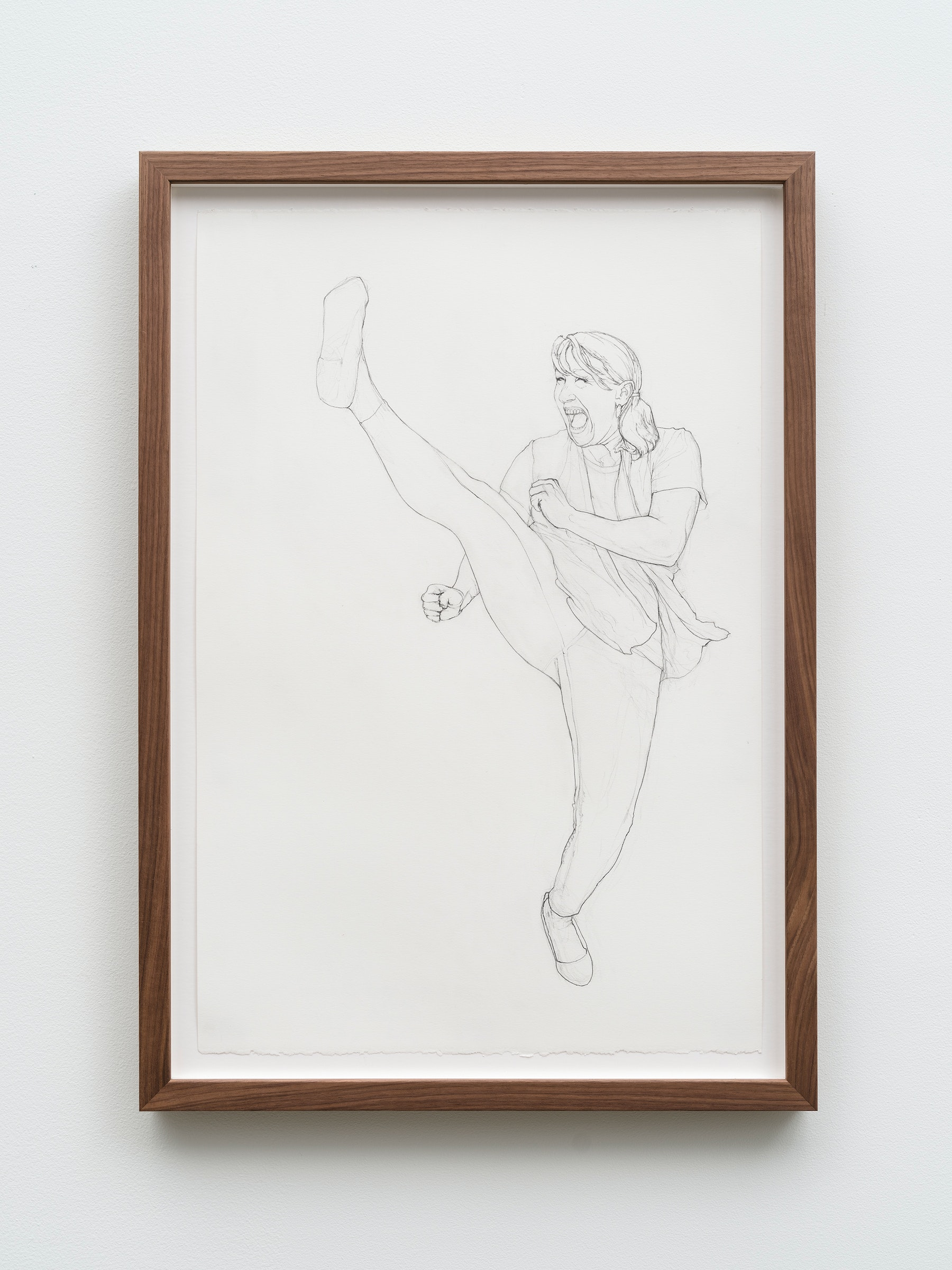 """Andrea Bowers """"Self-Defense Drawings - Study of Linda,"""" 2021 Graphite on paper 22 ³⁄₈"""" x 15"""" [HxW] (56.81 x 38.1 cm) paper size; 25 ¹⁄₄"""" x 17 ³⁄₄"""" x 1 ¹⁄₂"""" [HxWxD] (64.13 x 45.08 x 3.81 cm) framed Inventory #BOW590 Courtesy of the artist and Vielmetter Los Angeles Photo credit: Jeff McLane"""