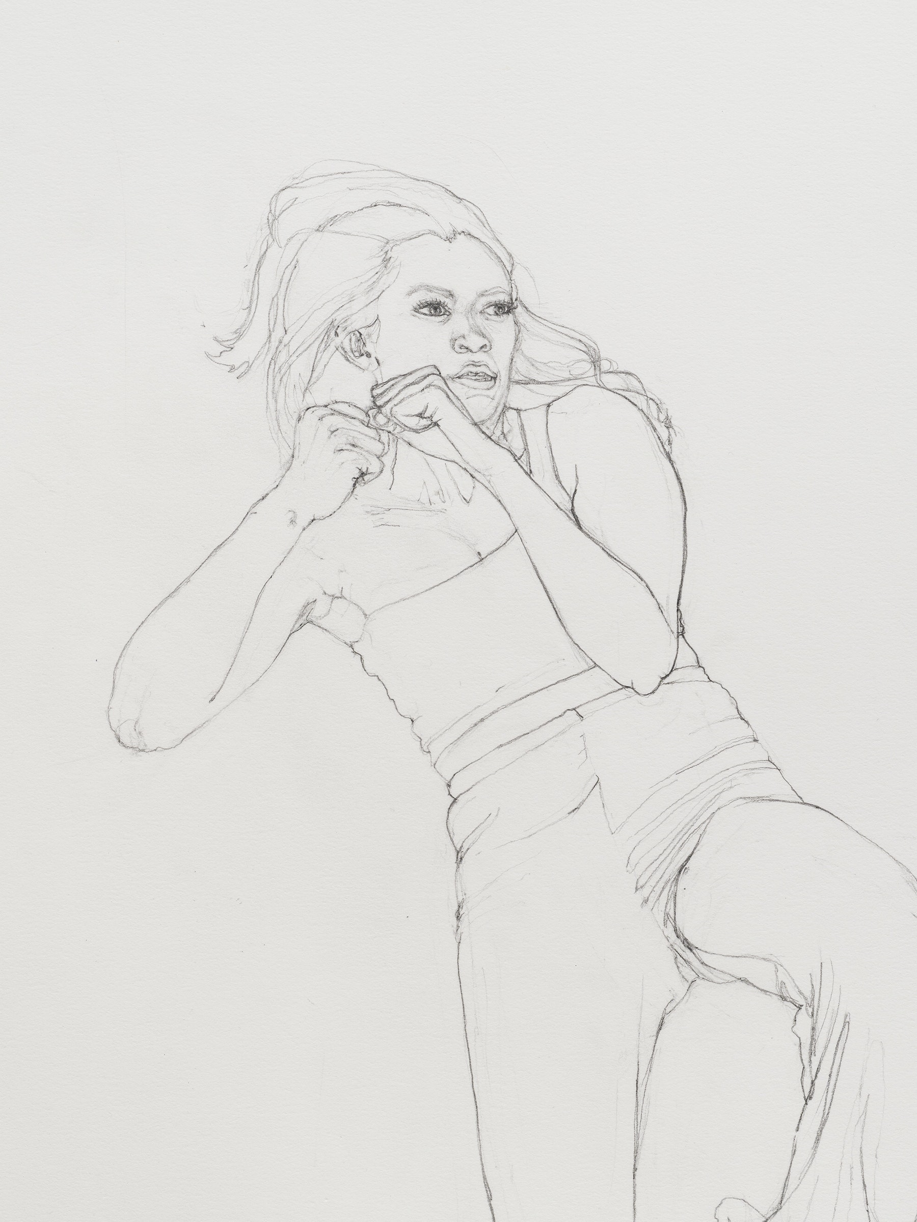 """Andrea Bowers """"Self-Defense Drawings - Study of Tiffany,"""" 2021 Graphite on paper 22 ³⁄₈"""" x 15"""" [HxW] (56.81 x 38.1 cm) paper size; 25 ¹⁄₄"""" x 17 ³⁄₄"""" x 1 ¹⁄₂"""" [HxWxD] (64.13 x 45.08 x 3.81 cm) framed Inventory #BOW591 Courtesy of the artist and Vielmetter Los Angeles Photo credit: Jeff McLane"""