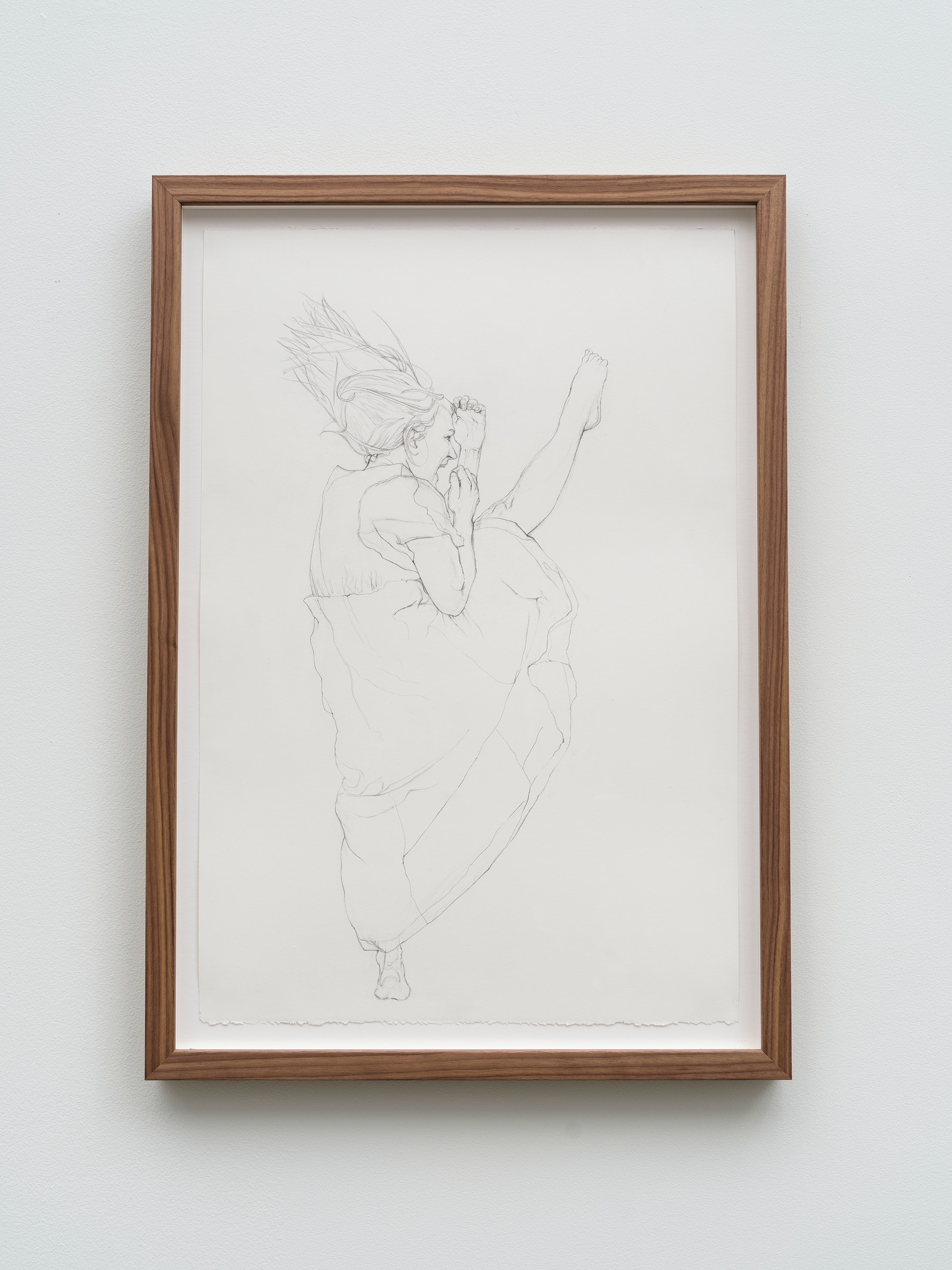 """Andrea Bowers """"Self-Defense Drawings - Study of Ivy,"""" 2021 Graphite on paper 22 ³⁄₈"""" x 15"""" [HxW] (56.81 x 38.1 cm) paper size; 25 ¹⁄₄"""" x 17 ³⁄₄"""" x 2"""" [HxWxD] (64.13 x 45.08 x 5.08 cm) framed Inventory #BOW592 Courtesy of the artist and Vielmetter Los Angeles Photo credit: Jeff McLane"""