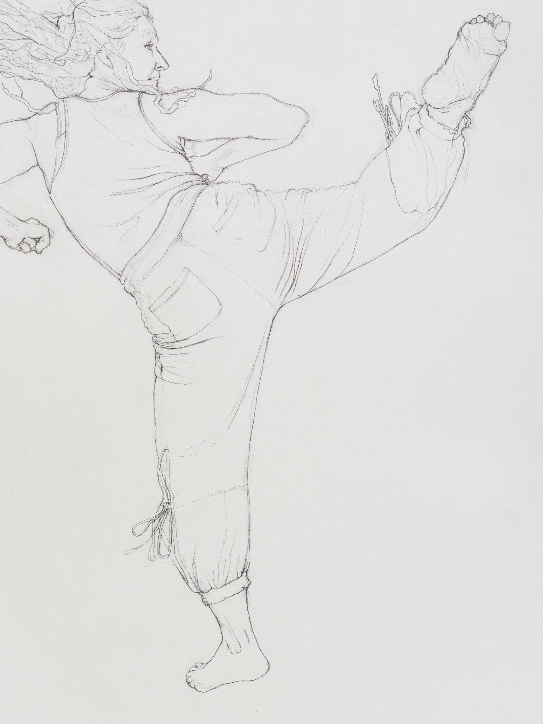 """Andrea Bowers """"Self-Defense Drawings - Study of Victoriya,"""" 2021 Graphite on paper 22 ³⁄₈"""" x 15"""" [HxW] (56.81 x 38.1 cm) paper size; 25 ¹⁄₄"""" x 17 ³⁄₄"""" x 2"""" [HxWxD] (64.13 x 45.08 x 5.08 cm) framed Inventory #BOW593 Courtesy of the artist and Vielmetter Los Angeles Photo credit: Jeff McLane"""