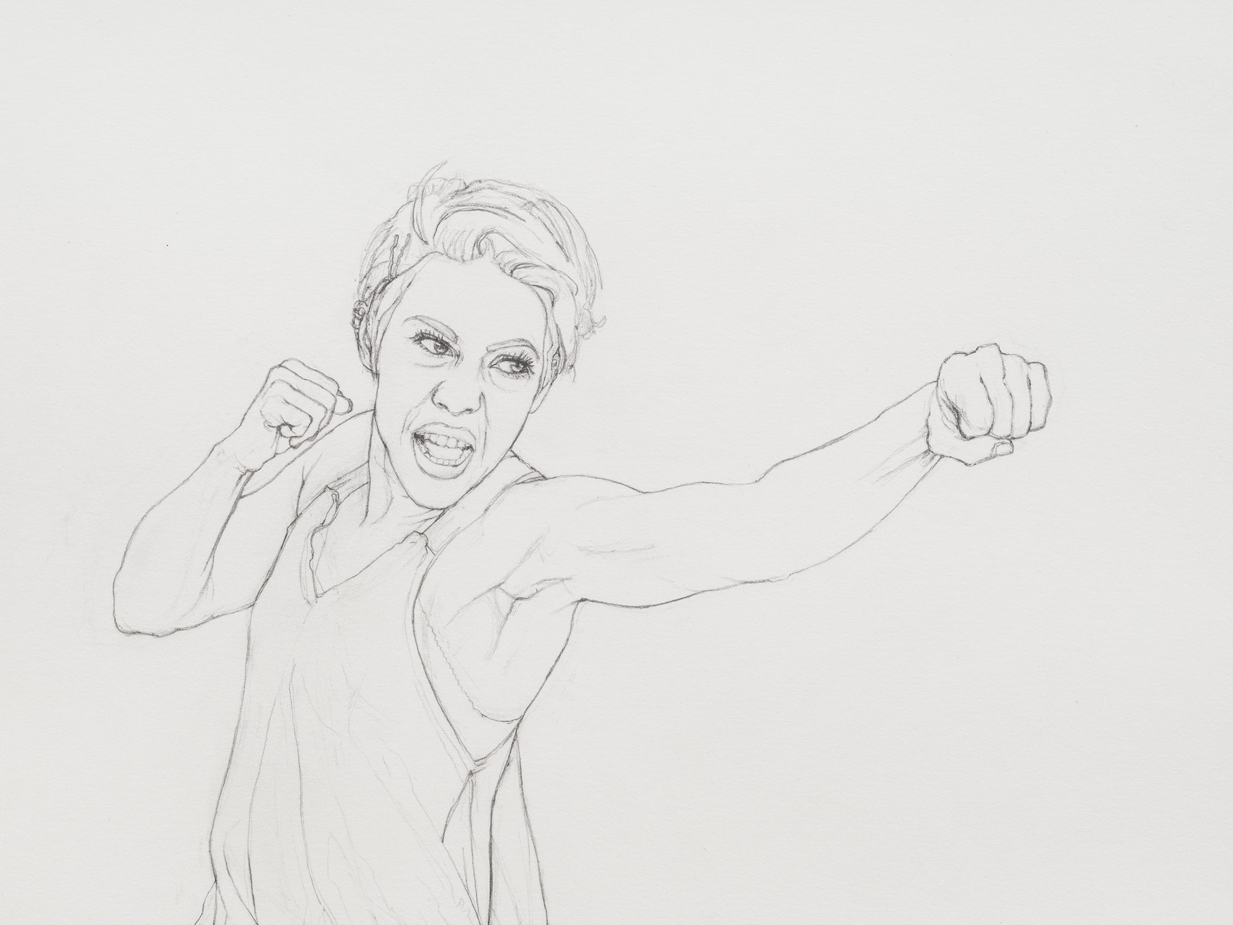 """Andrea Bowers """"Self-Defense Drawings - Study of Sunny,"""" 2021 Graphite on paper 22 ³⁄₈"""" x 15"""" [HxW] (56.81 x 38.1 cm) paper size; 25 ¹⁄₄"""" x 17 ³⁄₄"""" x 2"""" [HxWxD] (64.13 x 45.08 x 5.08 cm) framed Inventory #BOW594 Courtesy of the artist and Vielmetter Los Angeles Photo credit: Jeff McLane"""