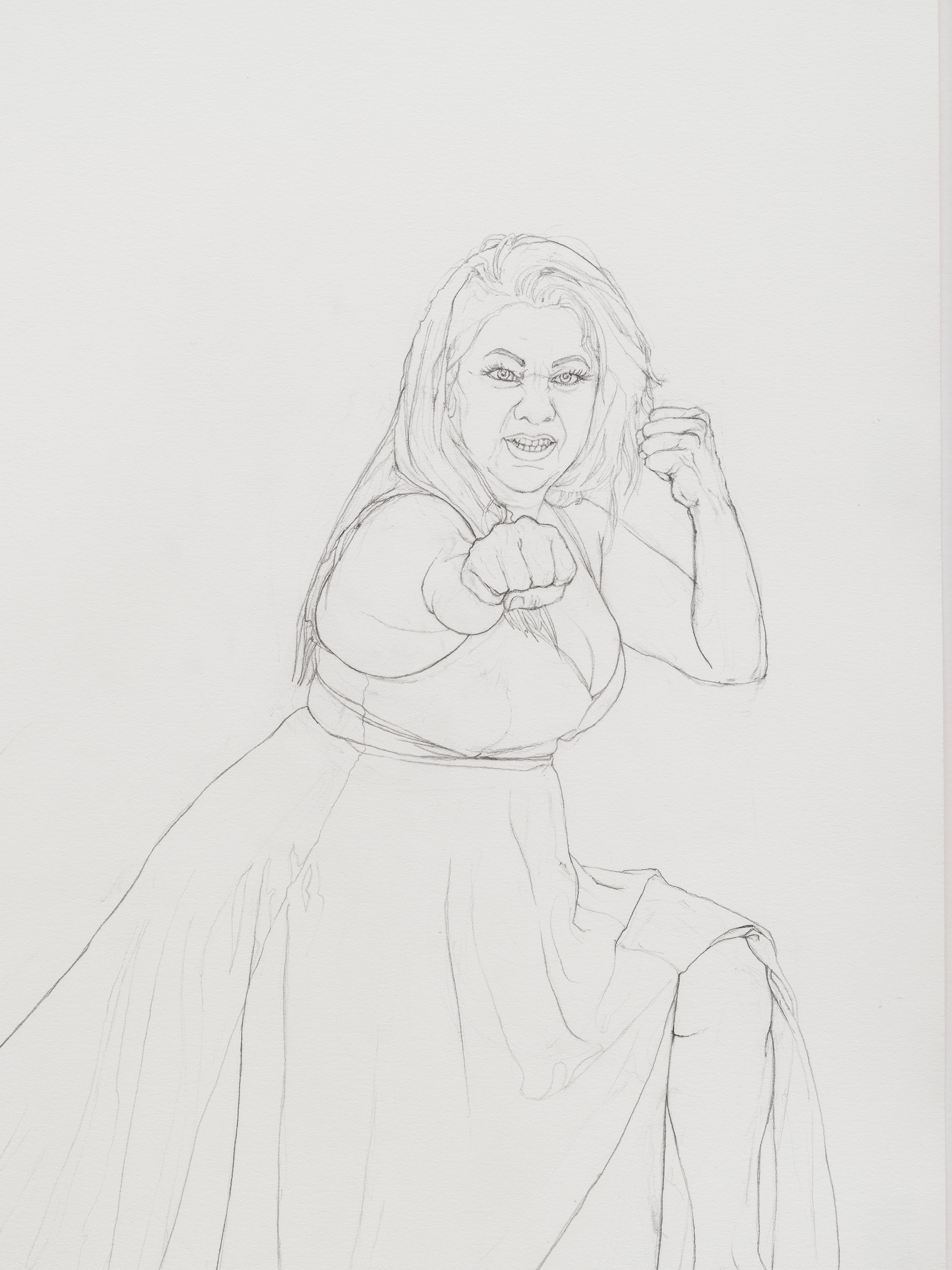 """Andrea Bowers """"Self-Defense Drawings - Study of Maritza,"""" 2021 Graphite on paper 22 ³⁄₈"""" x 15"""" [HxW] (56.81 x 38.1 cm) paper size; 25 ¹⁄₄"""" x 17 ³⁄₄"""" x 2"""" [HxWxD] (64.13 x 45.08 x 5.08 cm) framed Inventory #BOW595 Courtesy of the artist and Vielmetter Los Angeles Photo credit: Jeff McLane"""