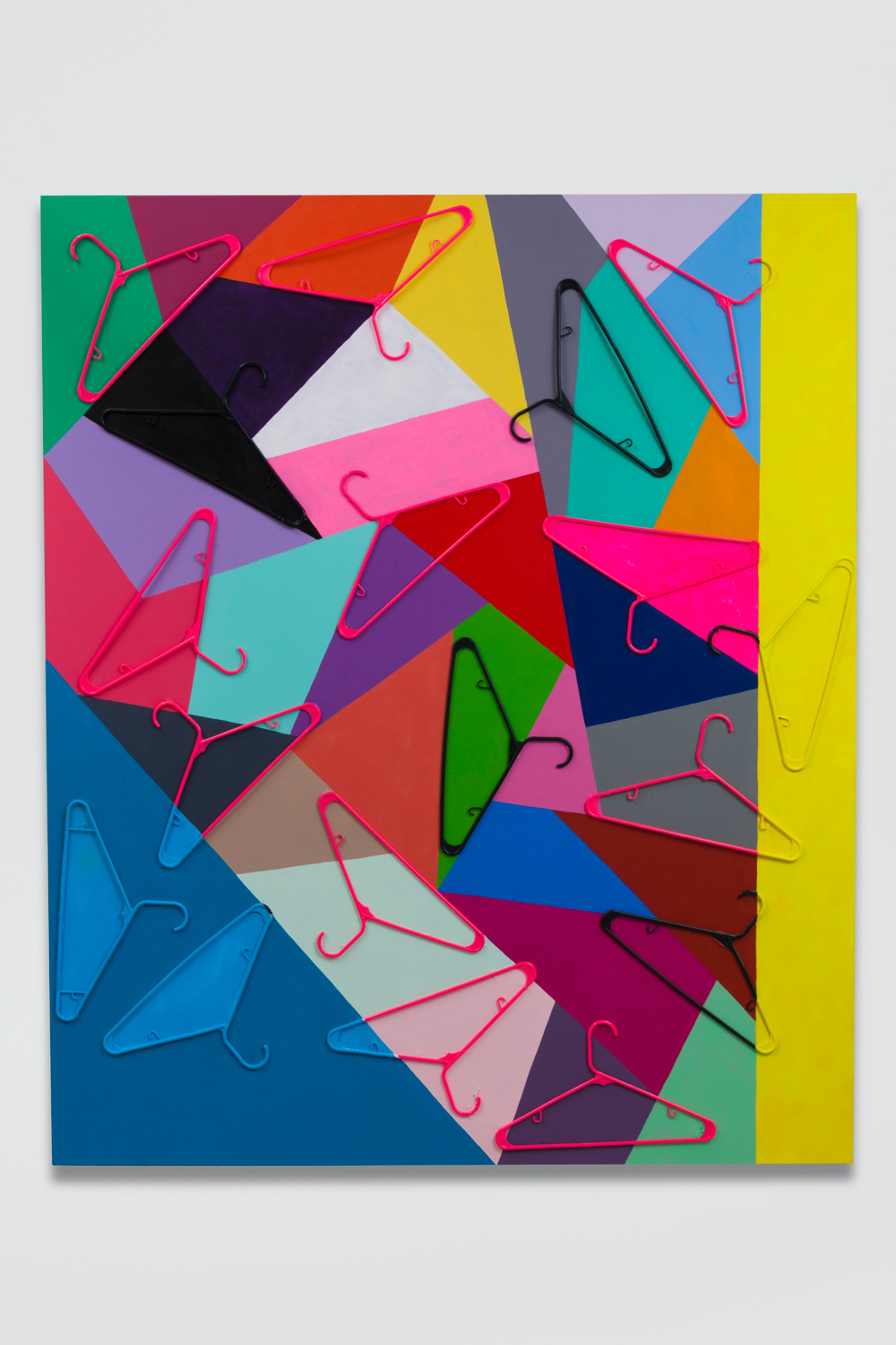 """Sarah Cain """"keep it safe and legal,"""" 2018 Acrylic, gouache, and plastic hangers on canvas 72 x 60"""" [HxW] (182.88 x 152.4 cm) Inventory #CAS109 Courtesy of the artist and Vielmetter Los Angeles"""