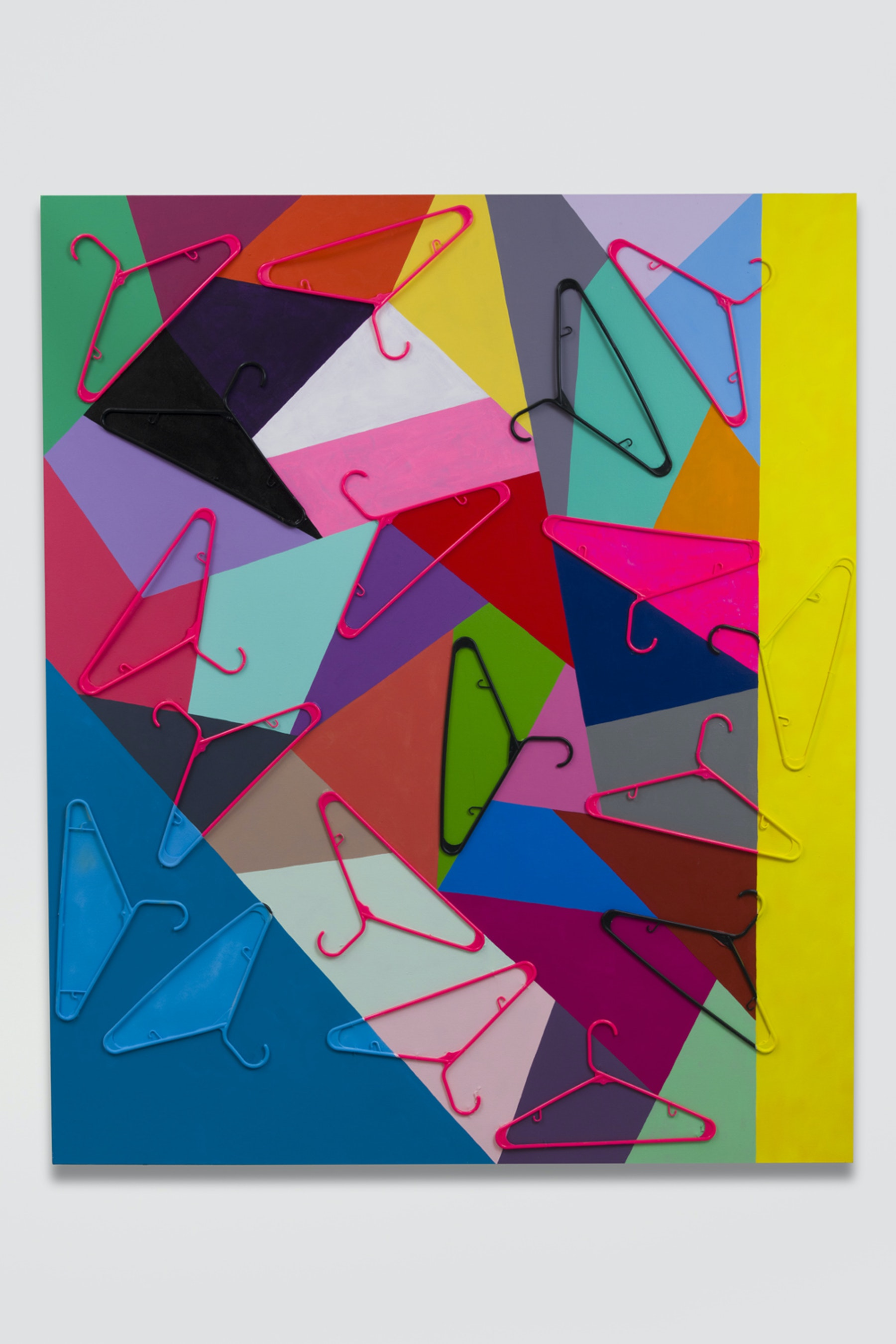 "Sarah Cain ""keep it safe and legal,"" 2018 Acrylic, gouache, and plastic hangers on canvas 72 x 60"" [HxW] (182.88 x 152.4 cm) Inventory #CAS109 Courtesy of the artist and Vielmetter Los Angeles"