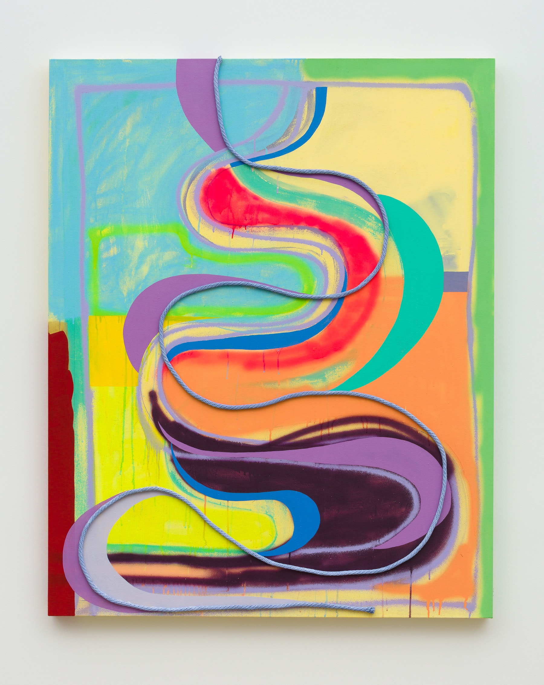 """Sarah Cain """"The possibility of overcoming negative thought,"""" 2020 Acrylic, latex, on rope and canvas 60 x 48 x 2.5"""" [HxWxD] (152.4 x 121.92 x 6.35 cm) Inventory #CAS127 Courtesy of the artist and Vielmetter Los Angeles Photo credit: Jeff McLane"""
