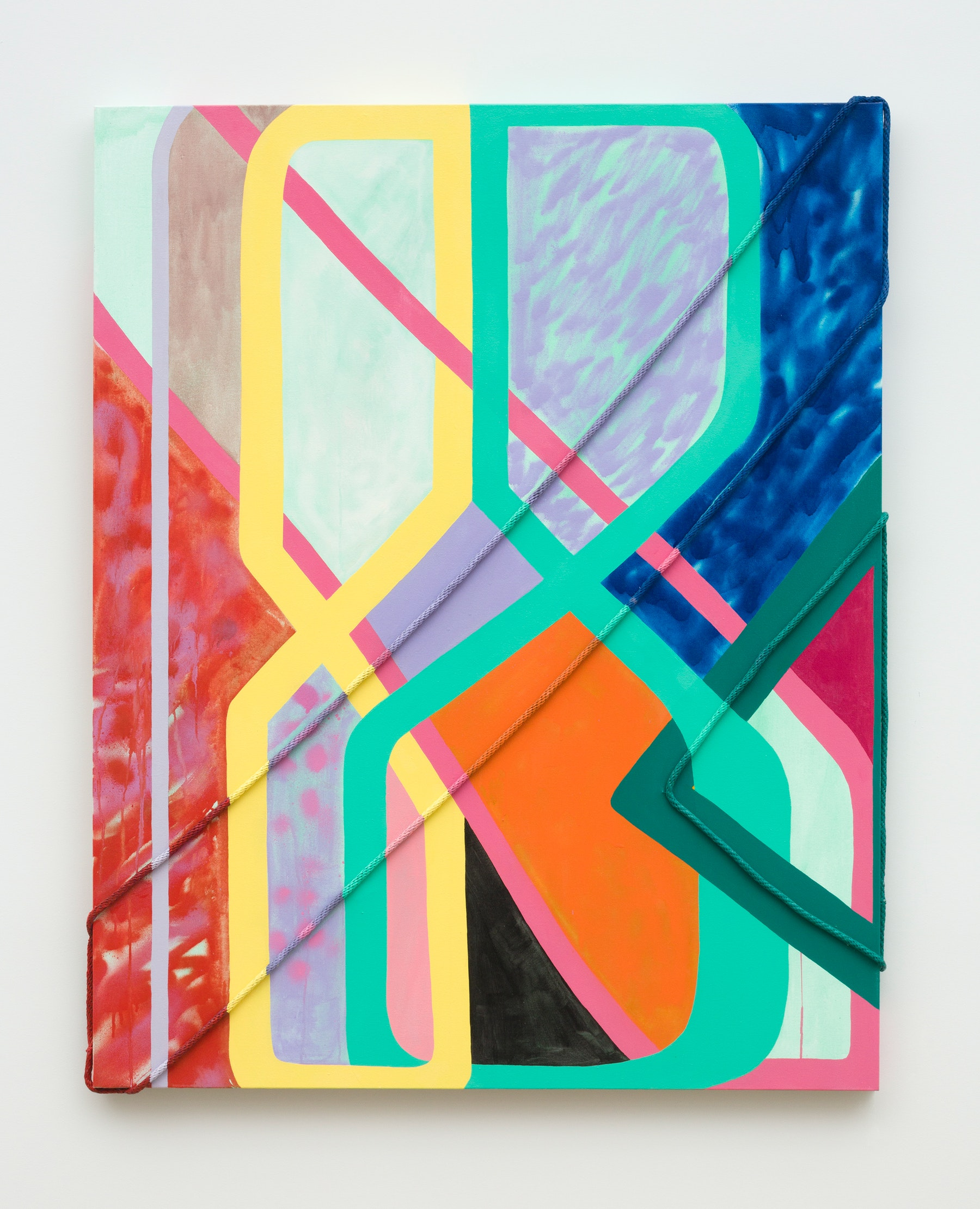 """Sarah Cain """"a ton of new,"""" 2020 Acrylic, gouache, latex on rope and canvas 61 x 49 x 2.5"""" [HxWxD] (154.94 x 124.46 x 6.35 cm) Inventory #CAS128 Courtesy of the artist and Vielmetter Los Angeles Photo credit: Jeff McLane"""