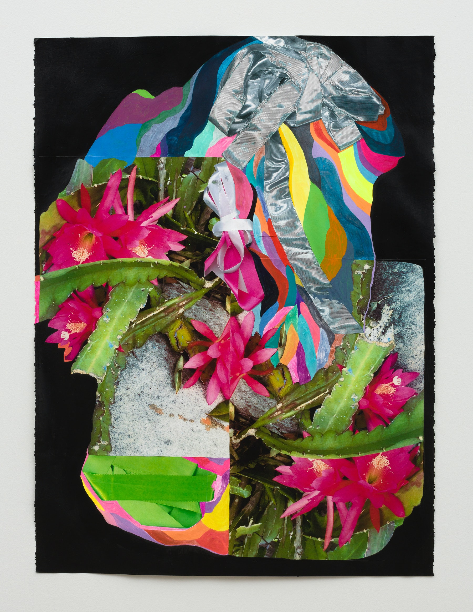 """Sarah Cain """"ribbons & plants,"""" 2020 Gouache, latex, acrylic and color copies on paper 30 x 22"""" [HxW] (76.2 x 55.88 cm) Inventory #CAS131 Courtesy of the artist and Vielmetter Los Angeles Photo credit: Jeff McLane"""