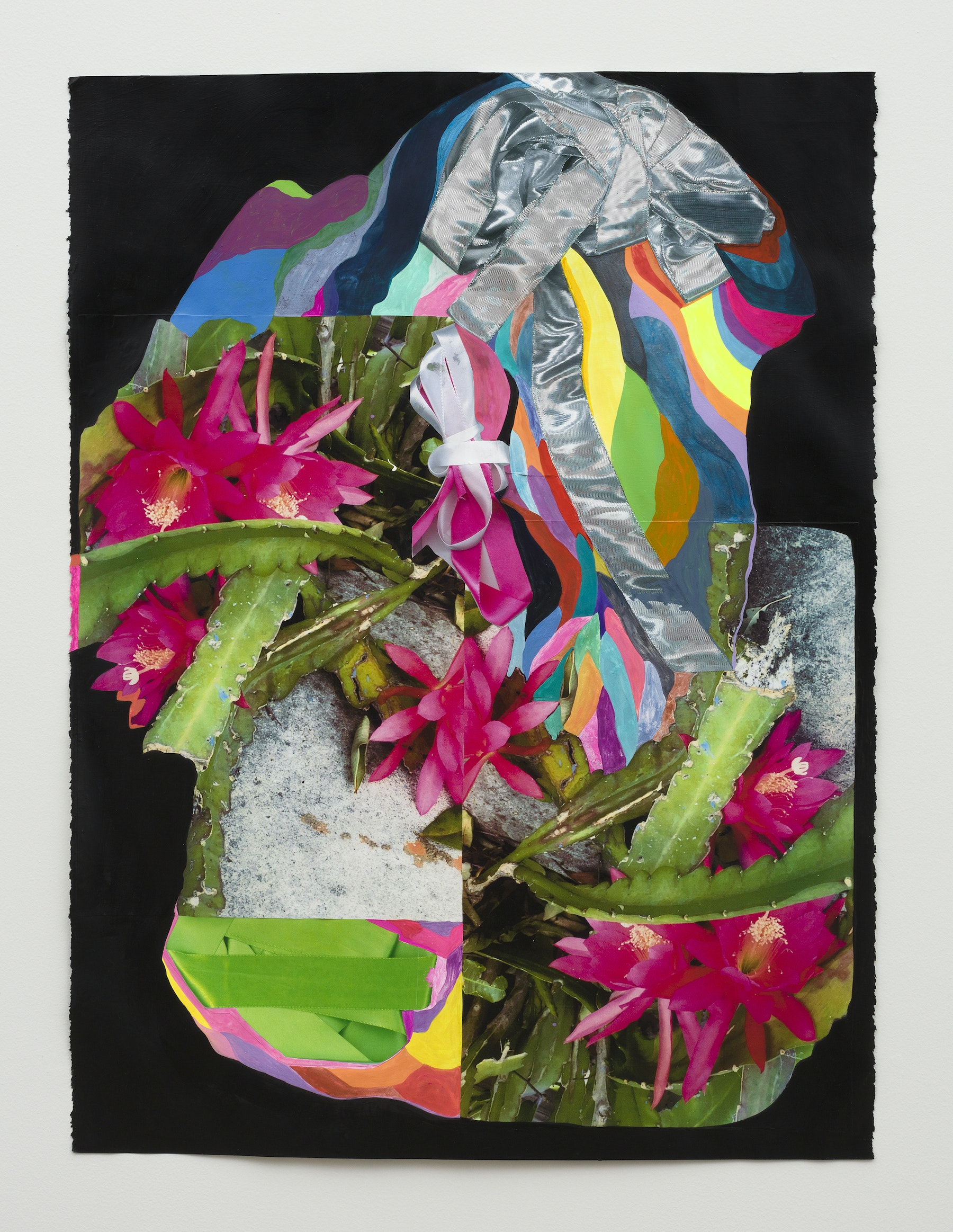 "Sarah Cain ""ribbons & plants,"" 2020 Gouache, latex, acrylic and color copies on paper 30 x 22"" [HxW] (76.2 x 55.88 cm) Inventory #CAS131 Courtesy of the artist and Vielmetter Los Angeles Photo credit: Jeff McLane"