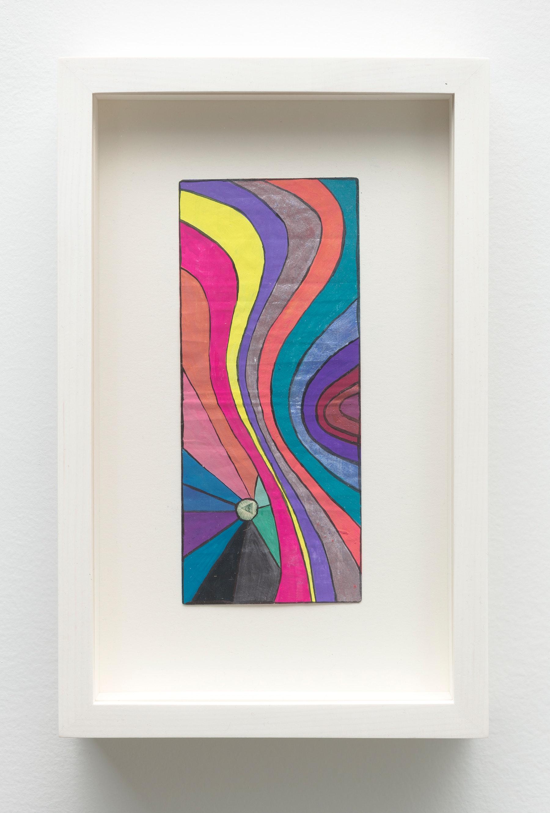 "Sarah Cain ""$ talisman,"" 2019 Acrylic on dollar bill 9.5 x 6.25 x 1.75"" [HxWxD] (24.13 x 15.88 x 4.45 cm) Inventory #CAS139 Courtesy of the artist and Vielmetter Los Angeles Photo credit: Robert Wedemeyer"