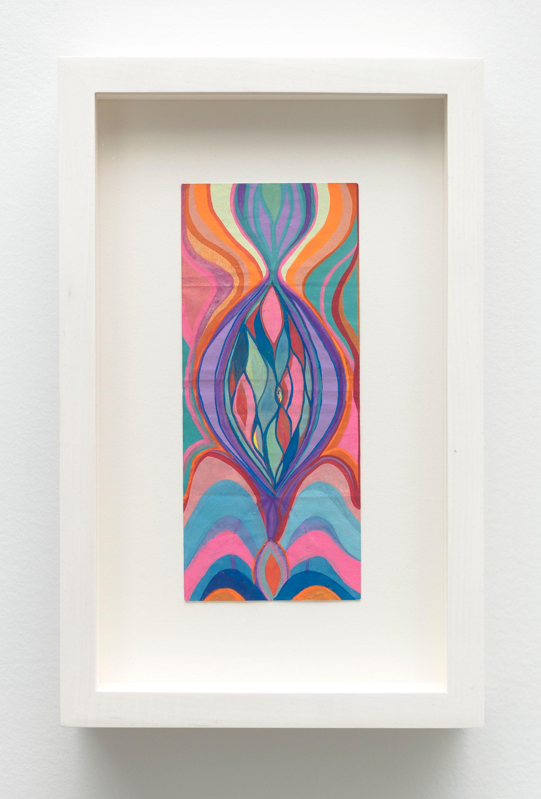 "Sarah Cain ""$ talisman,"" 2019 Acrylic on dollar bill 9.5 x 6.25 x 1.75"" [HxWxD] (24.13 x 15.88 x 4.45 cm) Inventory #CAS140 Courtesy of the artist and Vielmetter Los Angeles Photo credit: Robert Wedemeyer"