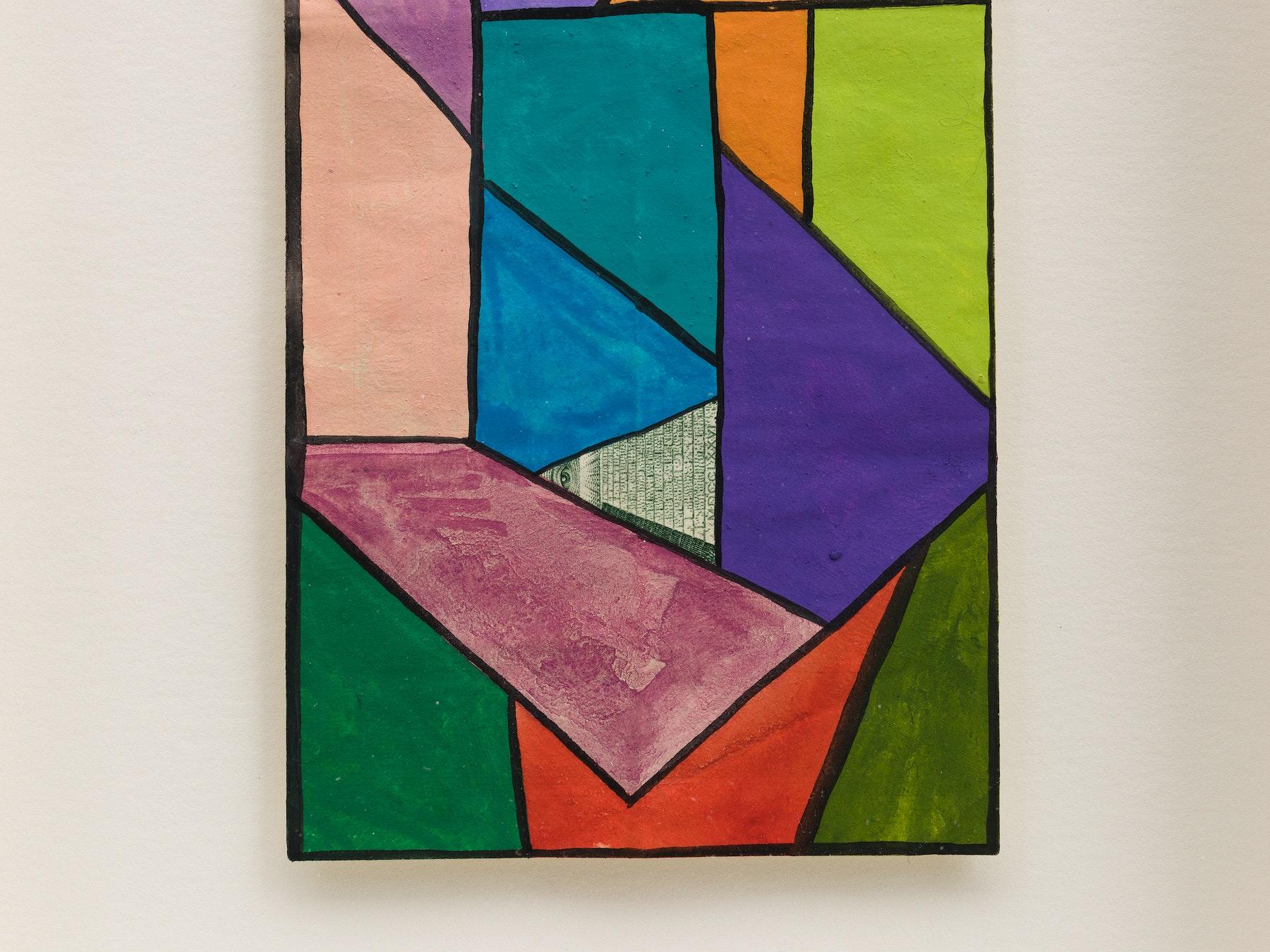 "Sarah Cain ""$ talisman,"" 2021 Acrylic on dollar bill 9 ¹⁄₂"" x 6 ¹⁄₄"" x 1 ³⁄₄"" [HxWxD] (24.13 x 15.88 x 4.45 cm) Inventory #CAS155 Courtesy of the artist and Vielmetter Los Angeles Photo credit: Jeff McLane"