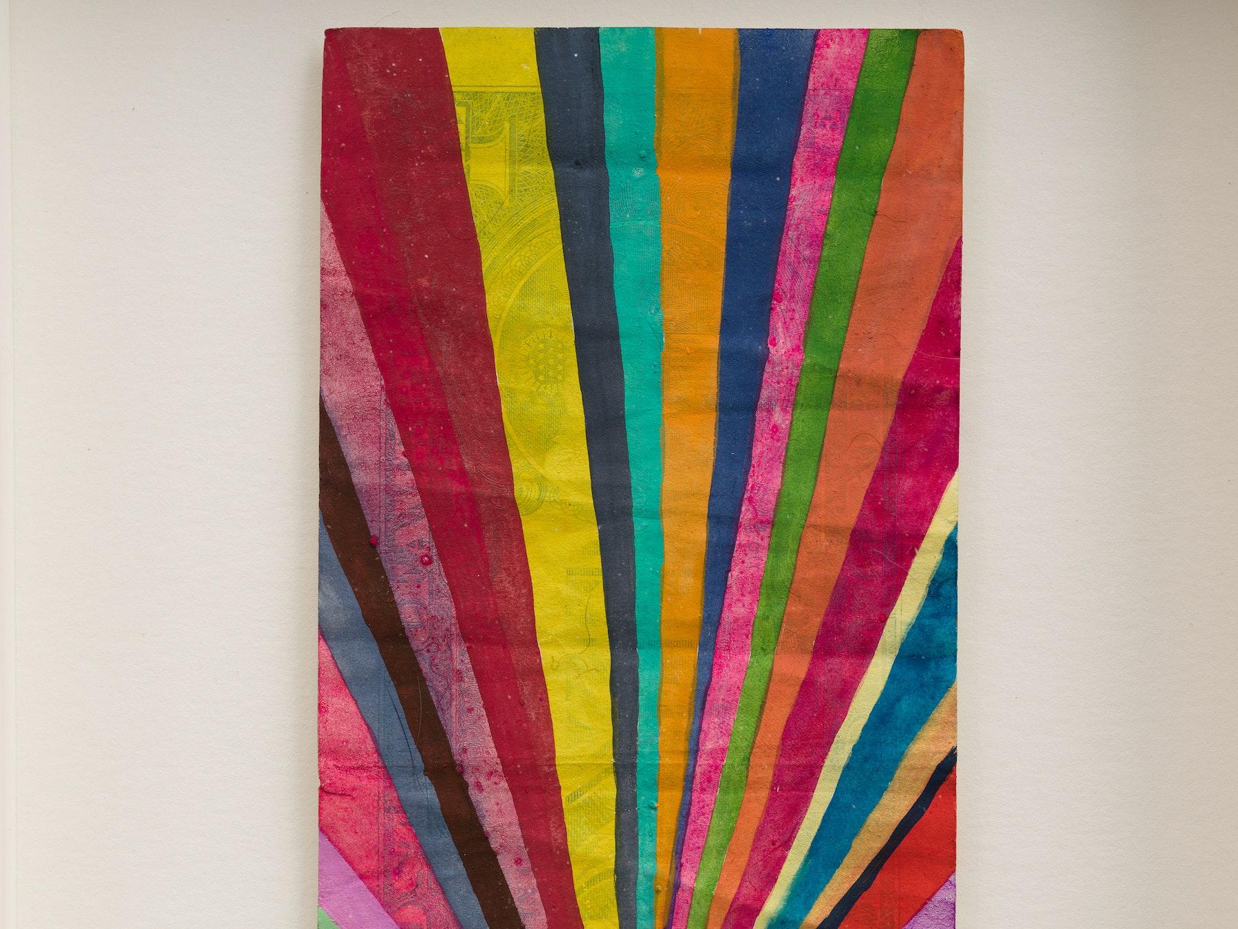 "Sarah Cain ""$ talisman,"" 2021 Acrylic on dollar bill 9 ¹⁄₂"" x 6 ¹⁄₄"" x 1 ³⁄₄"" [HxWxD] (24.13 x 15.85 x 4.45 cm) Inventory #CAS157 Courtesy of the artist and Vielmetter Los Angeles Photo credit: Jeff McLane"