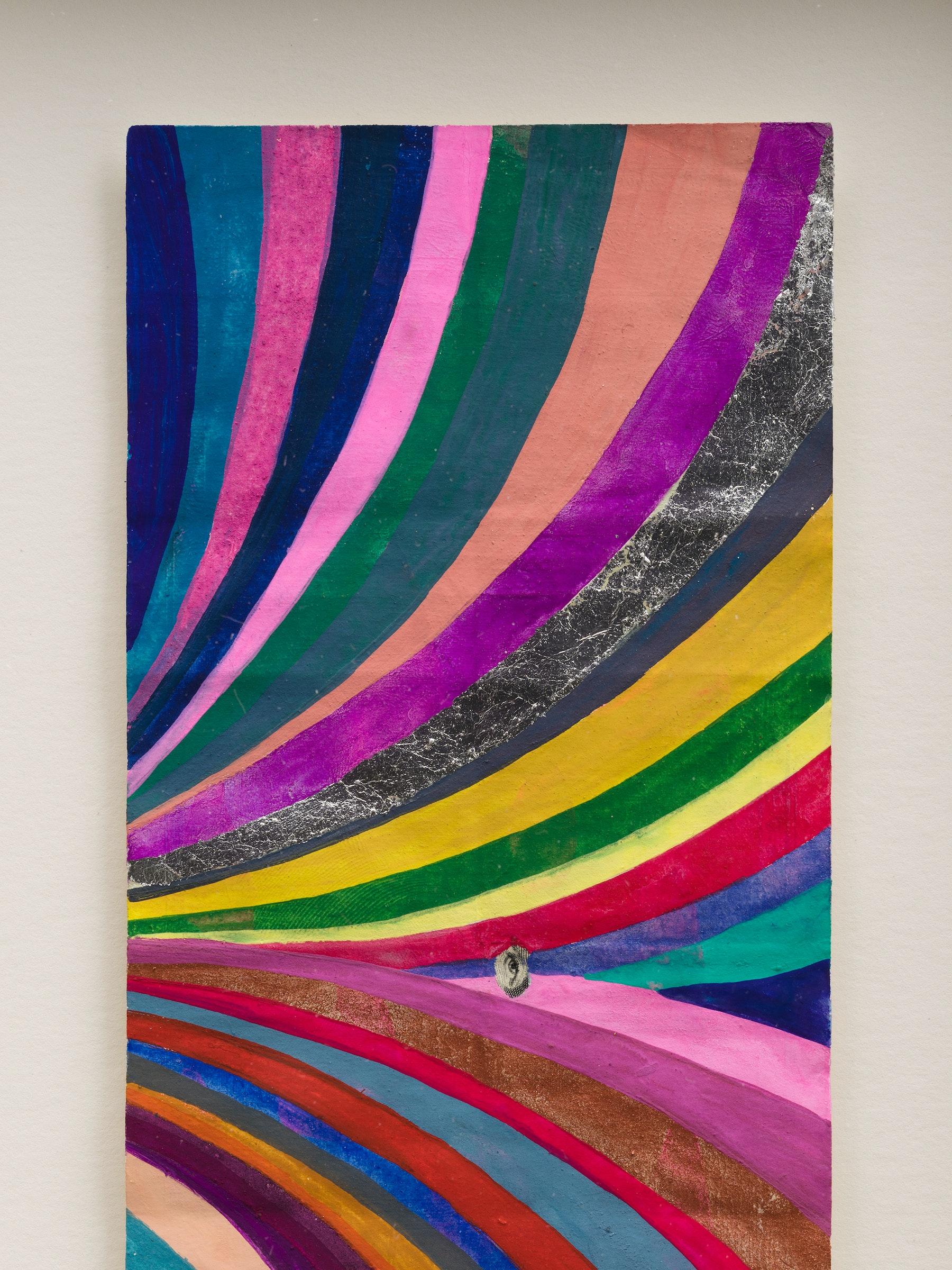 "Sarah Cain ""$ talisman,"" 2021 Acrylic on dollar bill 9 ¹⁄₂"" x 6 ¹⁄₄"" x 1 ³⁄₄"" [HxWxD] (24.13 x 15.85 x 4.45 cm) Inventory #CAS158 Courtesy of the artist and Vielmetter Los Angeles Photo credit: Jeff McLane"