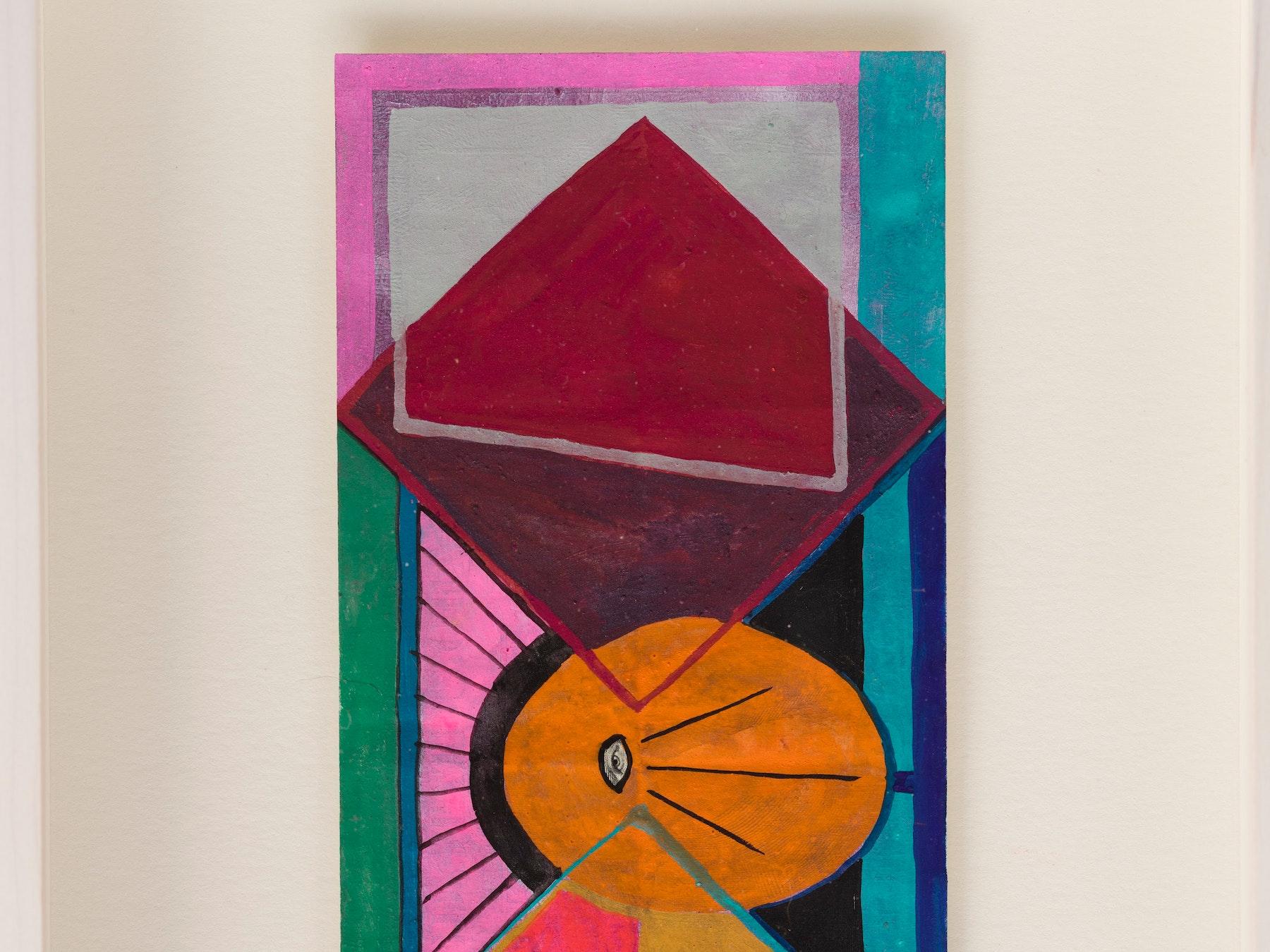 "Sarah Cain ""$ talisman,"" 2021 Acrylic on dollar bill 9 ¹⁄₂"" x 6 ¹⁄₄"" x 1 ³⁄₄"" [HxWxD] (24.13 x 15.85 x 4.45 cm) Inventory #CAS159 Courtesy of the artist and Vielmetter Los Angeles Photo credit: Evan Bedford"