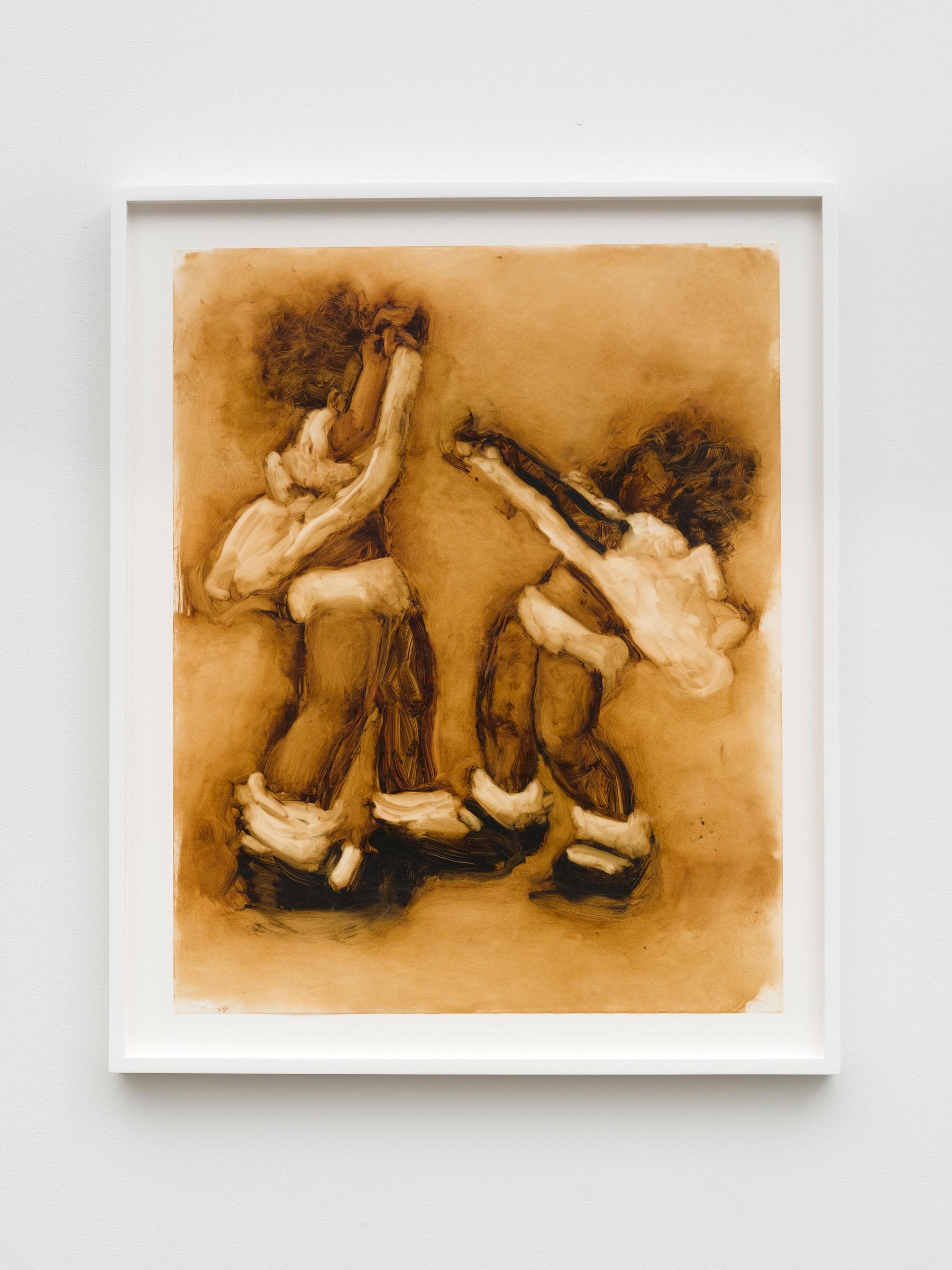 "Kim Dingle ""Untitled,"" 2001 Oil on vellum 19"" x 24"" [HxW] (48.26 x 60.96 cm) paper size; 27 ³⁄₄"" x 22 ³⁄₄"" x 1 ¹⁄₂"" [HxWxD] (70.48 x 57.78 x 3.81 cm) framed Inventory #DIN311 Courtesy of Vielmetter Los Angeles Photo credit: Jeff McLane"