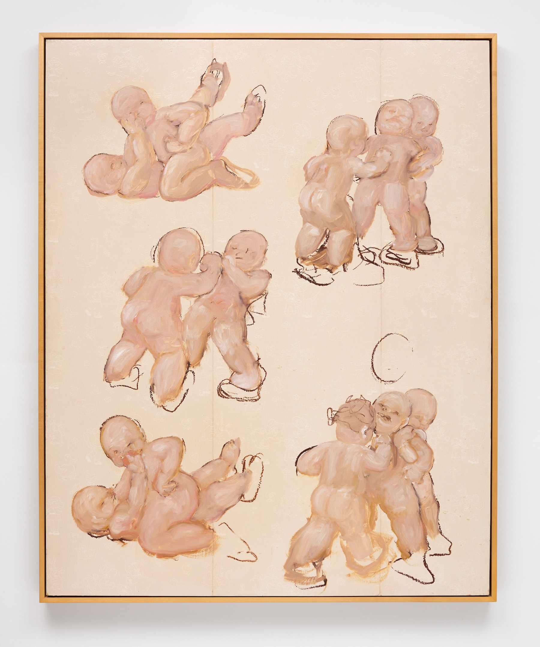 """Kim Dingle """"The Priss Papers (Pink Babies),"""" 1995 Oil on wallpaper on mahogany panel 61 ¹⁄₂"""" x 49 ¹⁄₂"""" x 2 ¹⁄₂"""" [HxWxD] (156.21 x 125.73 x 6.35 cm) Inventory #DIN329 Courtesy of Vielmetter Los Angeles Photo credit: Brica Wilcox"""
