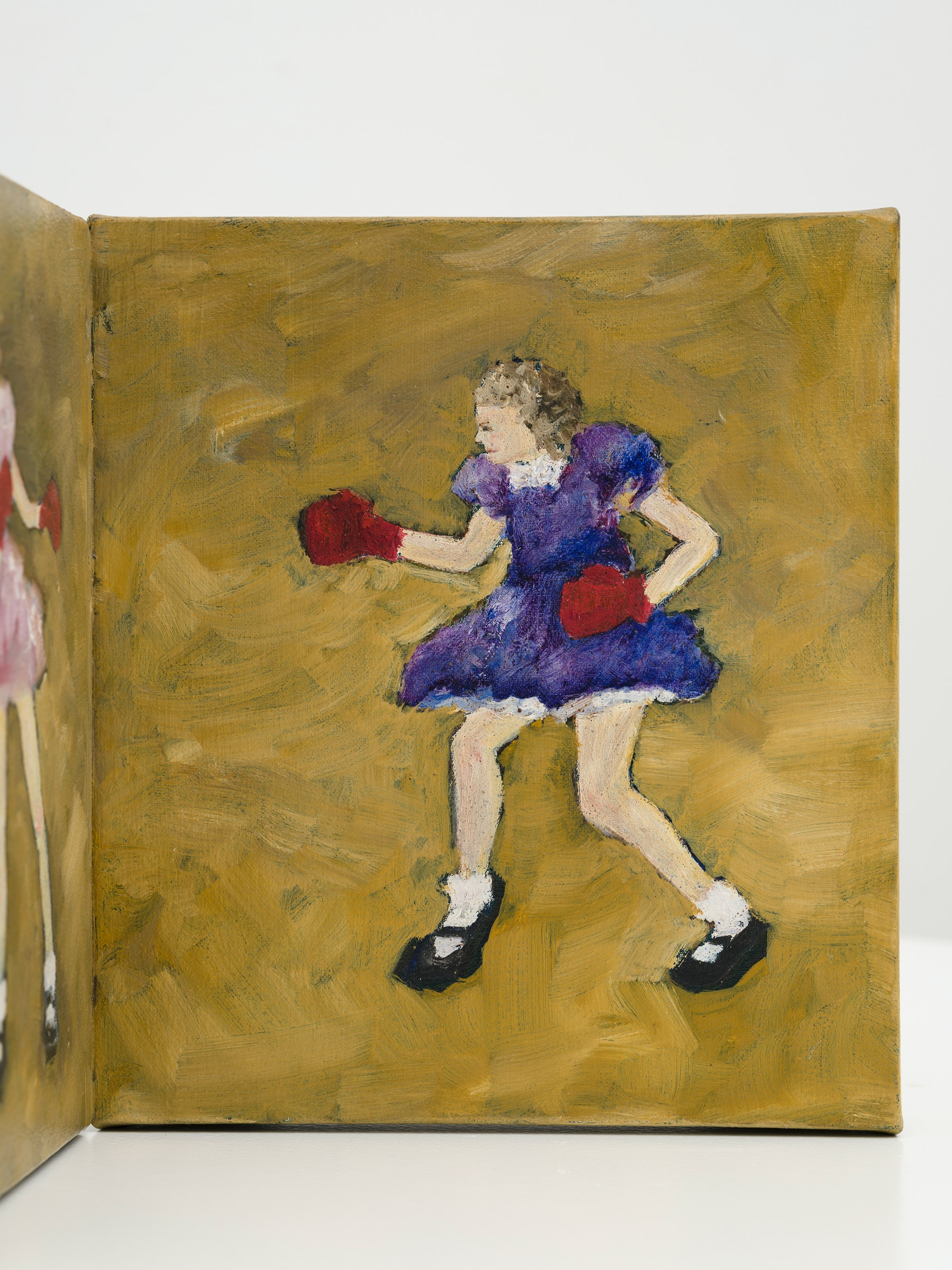 "Kim Dingle ""Corner Girls,"" 1992 Oil on Belgian canvas 9 ³⁄₄"" x 14 ¹⁄₂"" x 7"" [HxWxD] (24.77 x 36.83 x 17.78 cm) Inventory #DIN335 Courtesy of Vielmetter Los Angeles Photo credit: Jeff McLane"