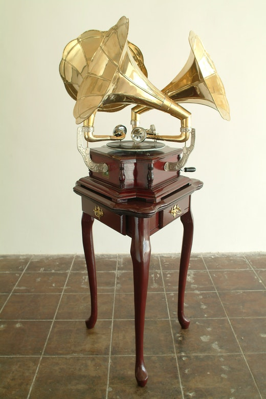 This is an artwork titled Triple Victrola by artist Sean Duffy made in 2003
