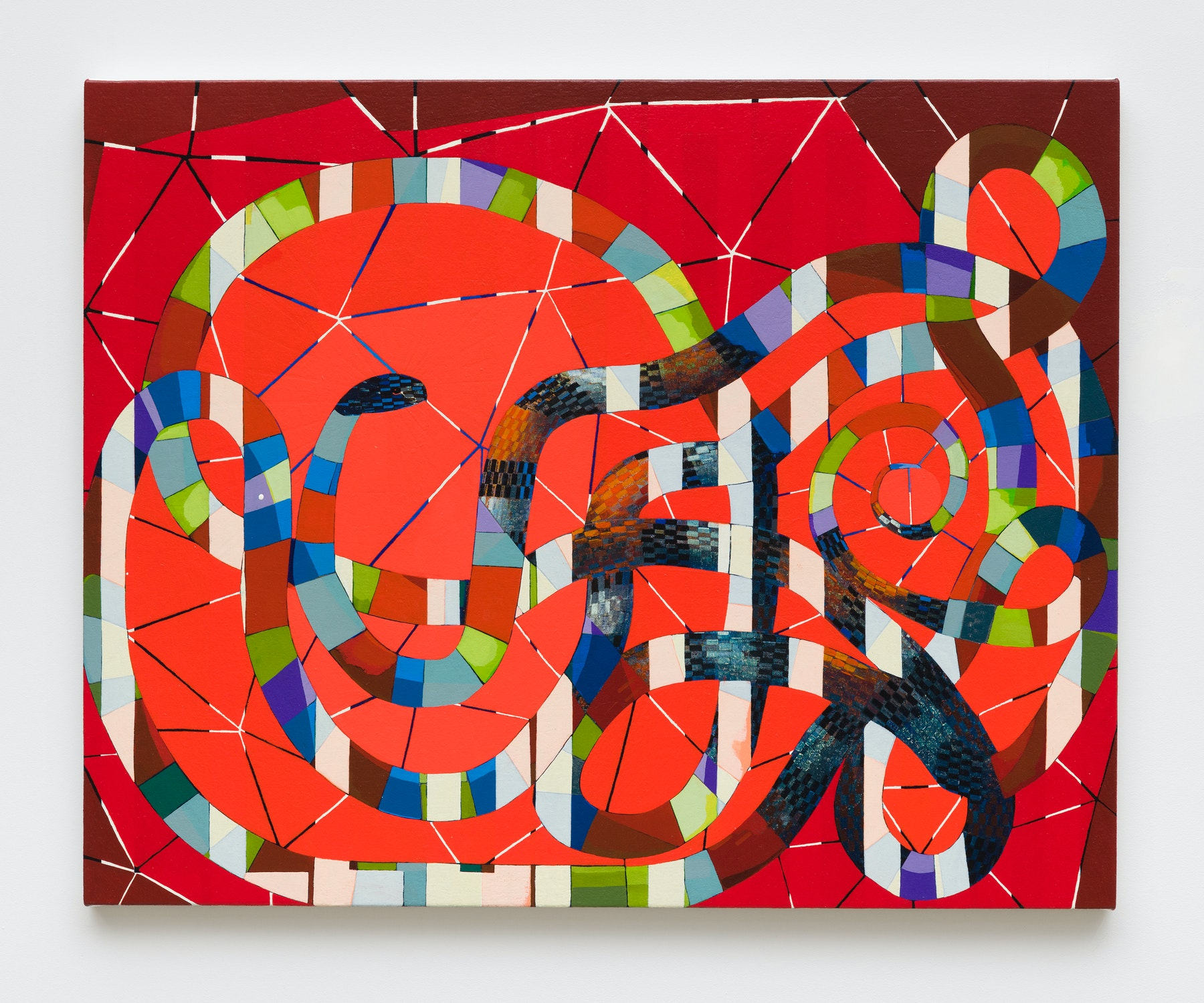"""Brad Eberhard """"The Red Vivarium,"""" 2019 Oil on canvas over panel 24 x 30"""" [HxW] (60.96 x 76.2 cm) Inventory #EBE157 Courtesy of the artist and Vielmetter Los Angeles Photo credit: Jeff McLane"""