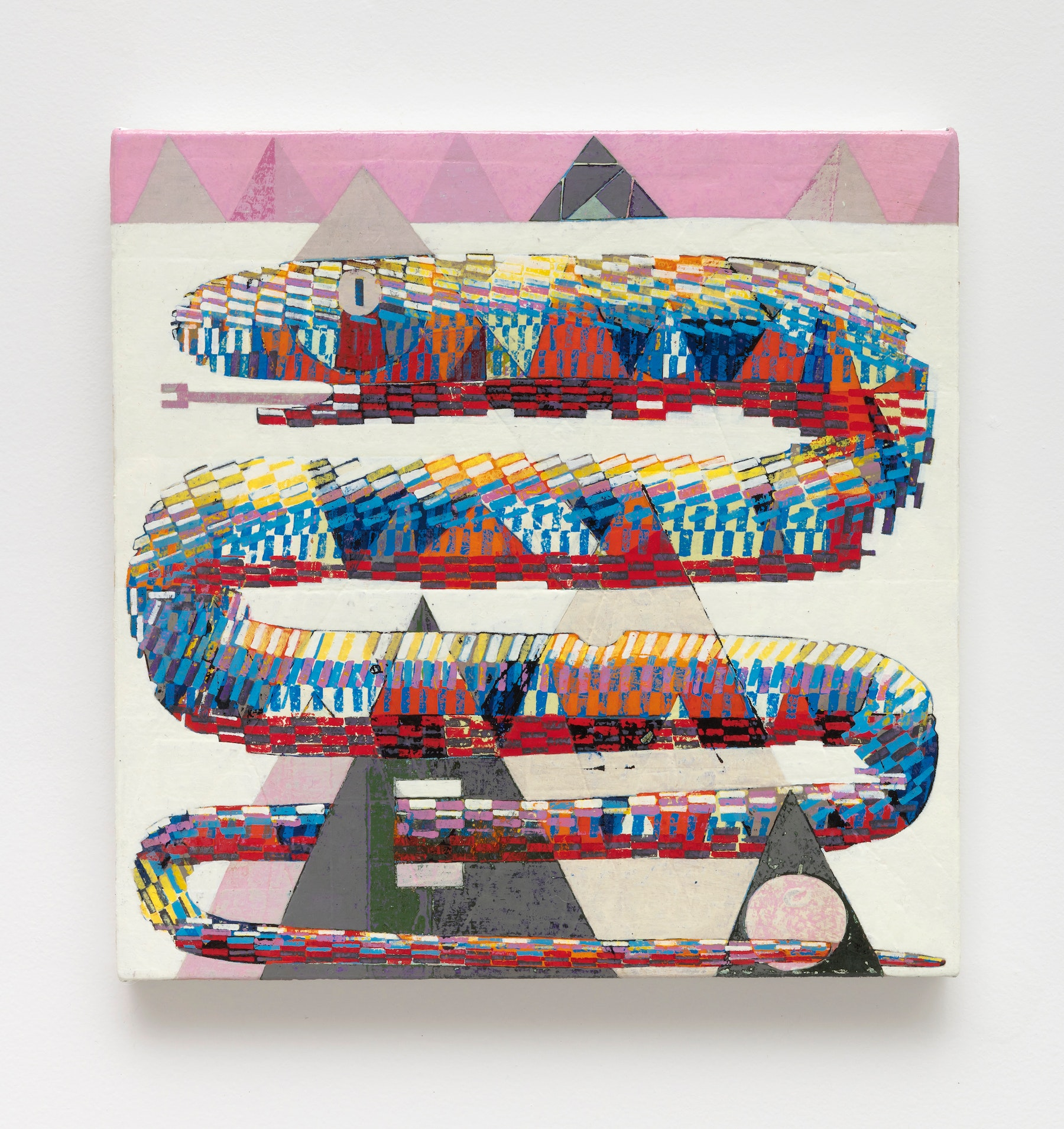 """Brad Eberhard """"Loose Plan for Afterlife,"""" 2020 Oil on canvas over panel 12 x 12"""" [HxW] (30.48 x 30.48 cm) Inventory #EBE163 Courtesy of the artist and Vielmetter Los Angeles Photo credit: Robert Wedemeyer"""