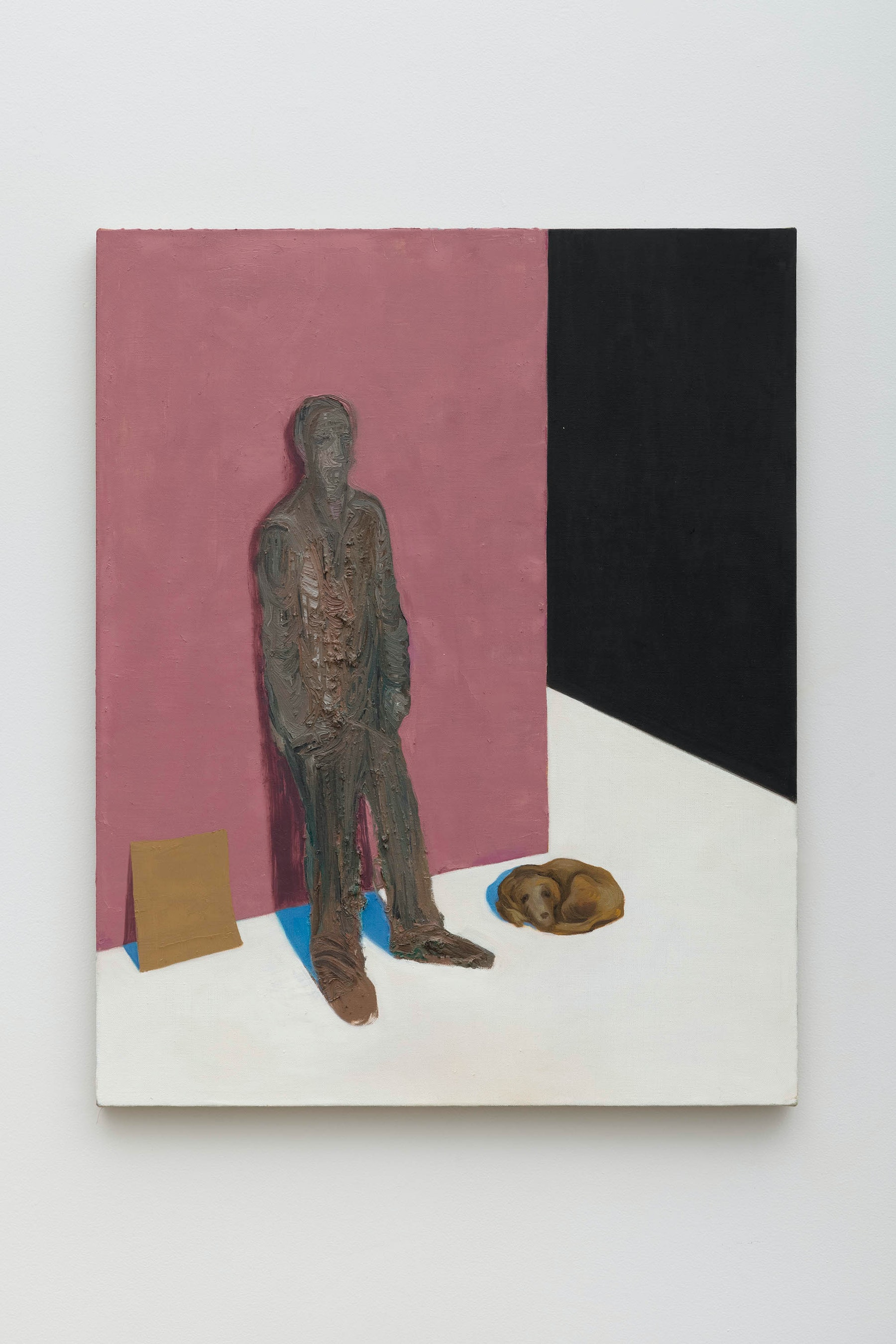 """Nicole Eisenman """"Empty City (with Man in Need),"""" 2020 Oil on linen 30"""" x 24"""" x 1"""" [HxWxD] (76.2 x 60.96 x 2.54 cm) Inventory #EIS600 Courtesy of the artist and Vielmetter Los Angeles Photo credit: Jeff McLane"""