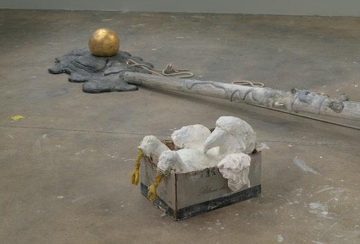 "Nicole Eisenman ""Flag Pole + Eagle in a Box,"" 2018"