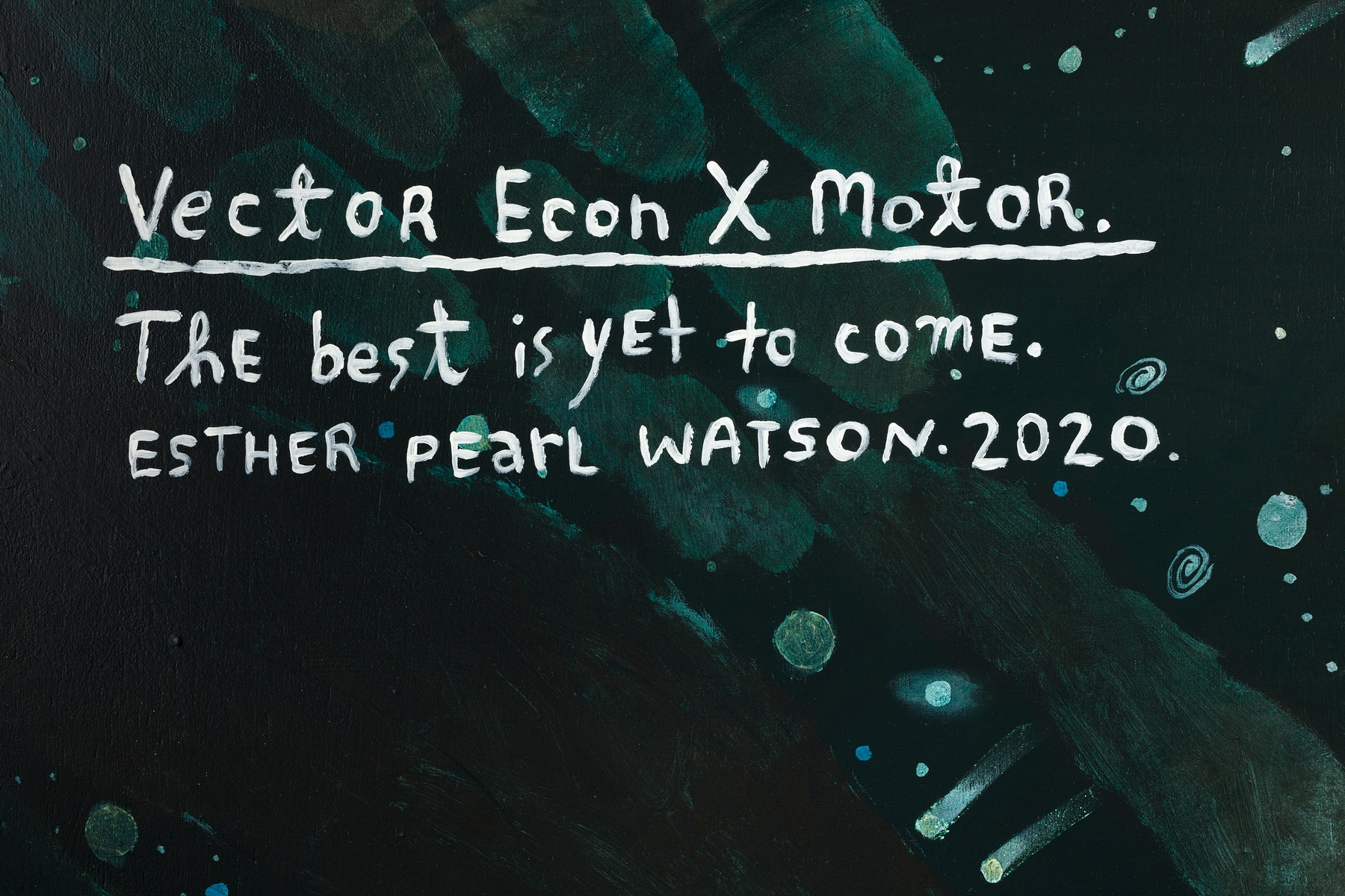 """Esther Pearl Watson """"Vector Econ X Motor,"""" 2020 Acrylic, glitter, foil paper, plastic jewels, on panel 60 x 60"""" [HxW] (152.4 x 152.4 cm) Inventory #EPW213 Courtesy of the artist and Vielmetter Los Angeles Photo credit: Jeff McLane"""