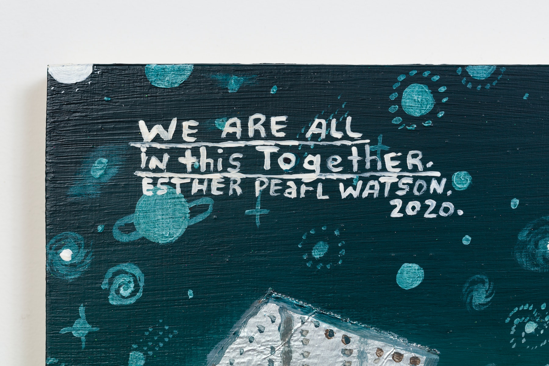 """Esther Pearl Watson """"We Are All In This Together,"""" 2020 Acrylic, foil, foil paper, found mirror, graphite on panel 12 x 16"""" [HxW] (30.48 x 40.64 cm) Inventory #EPW214 Courtesy of the artist and Vielmetter Los Angeles Photo credit: Jeff McLane"""