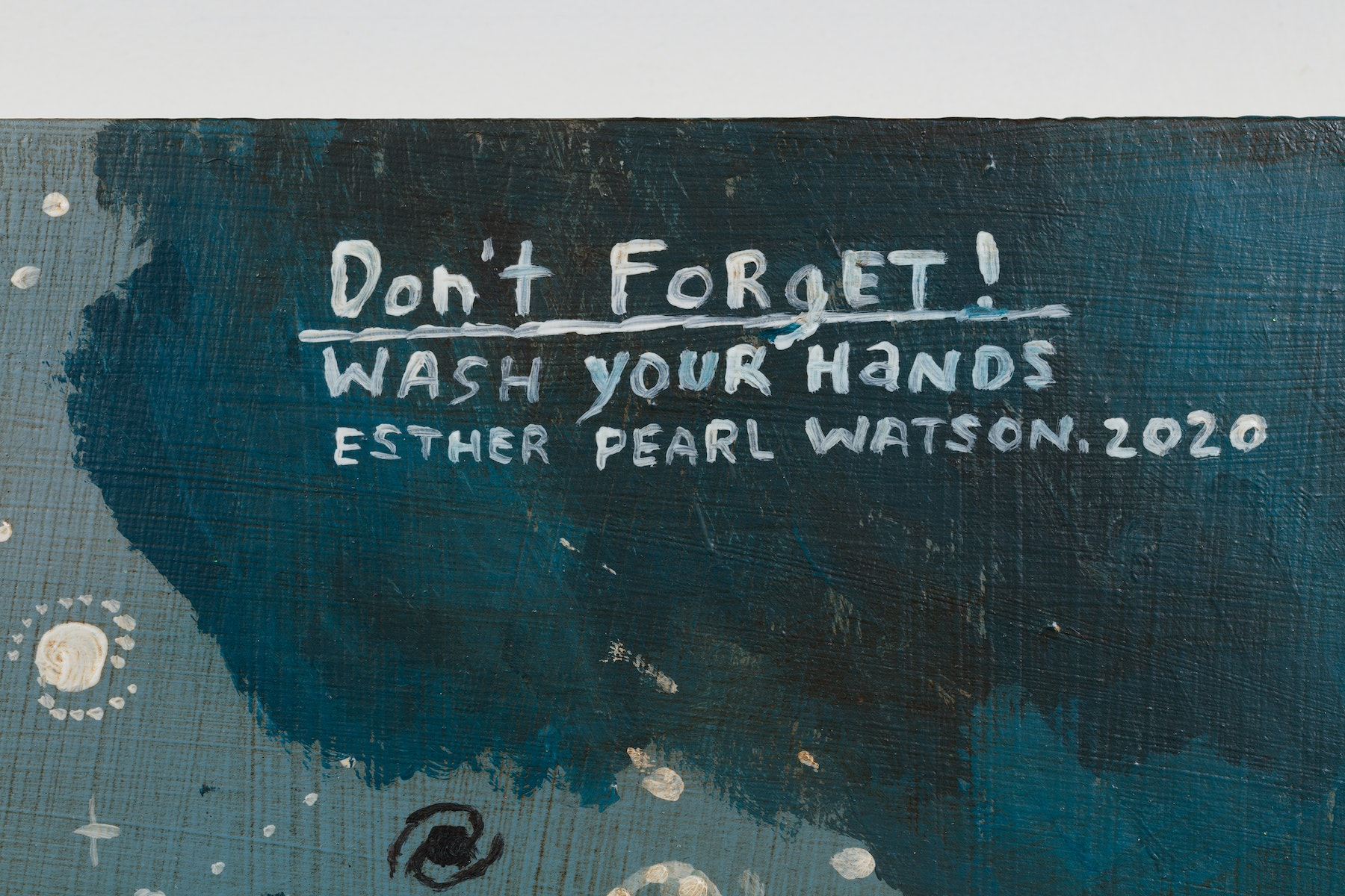 """Esther Pearl Watson """"Don't Forget! Wash Your Hands,"""" 2020 Acrylic, foil, foil paper, found mirror, graphite on panel 12 x 16"""" [HxW] (30.48 x 40.64 cm) Inventory #EPW216 Courtesy of the artist and Vielmetter Los Angeles Photo credit: Jeff McLane"""