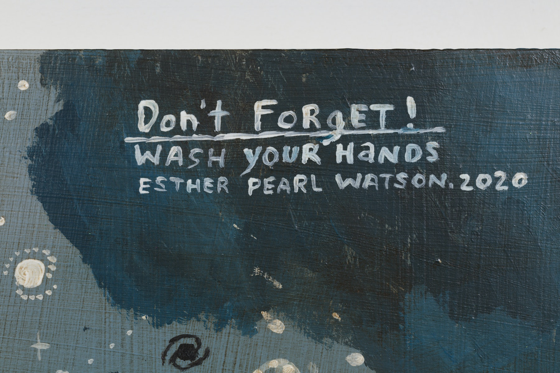 "Esther Pearl Watson ""Don't Forget! Wash Your Hands,"" 2020 Acrylic, foil, foil paper, found mirror, graphite on panel 12 x 16"" [HxW] (30.48 x 40.64 cm) Inventory #EPW216 Courtesy of the artist and Vielmetter Los Angeles Photo credit: Jeff McLane"